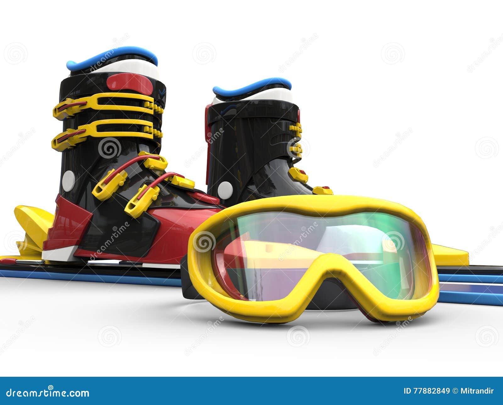 Equipo Del Esquí Con Los Vidrios Amarillos Del Esquí Del Borde Stock de ilustración