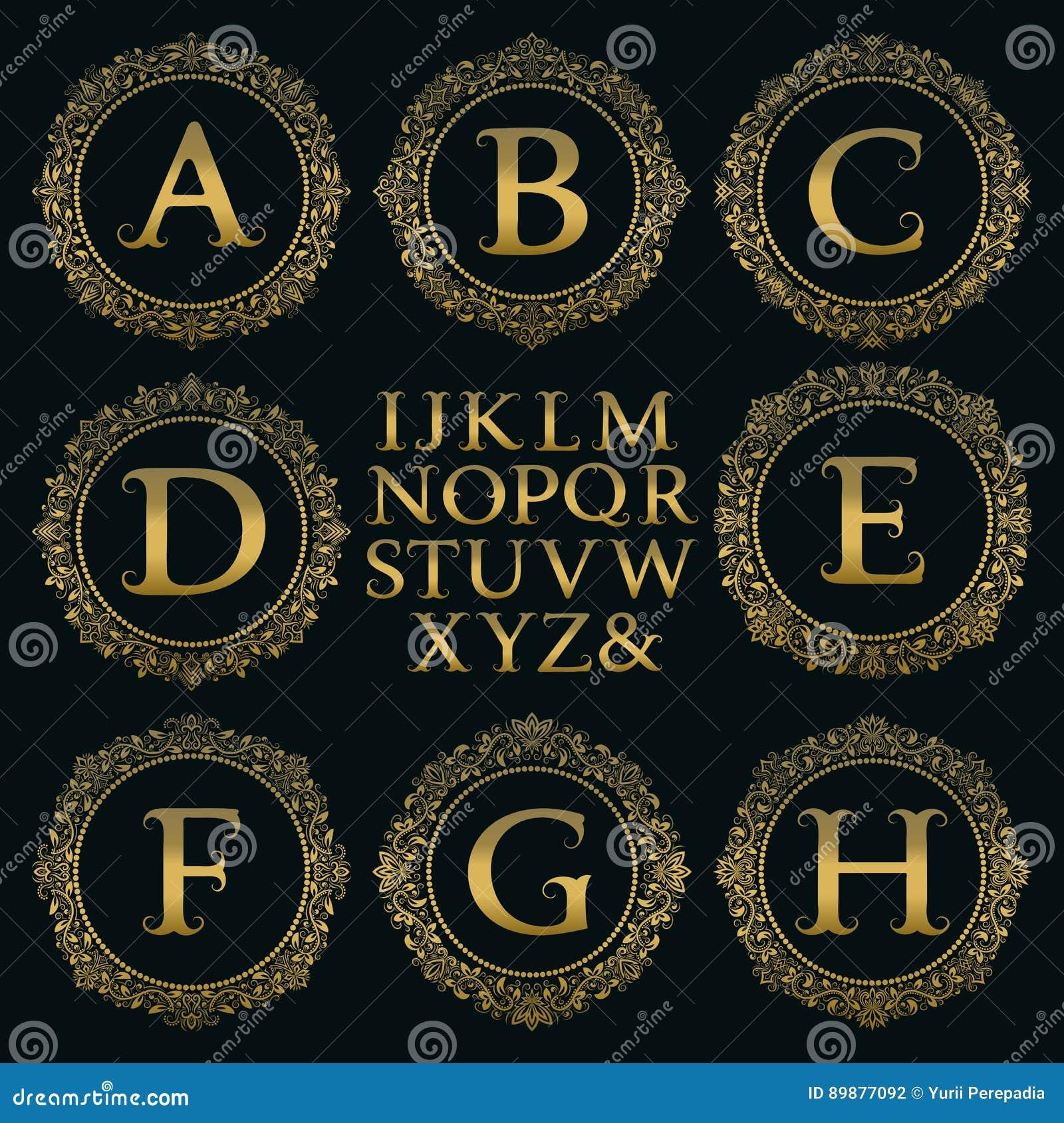 Equipo del monograma del vintage Letras de oro y marcos redondos florales