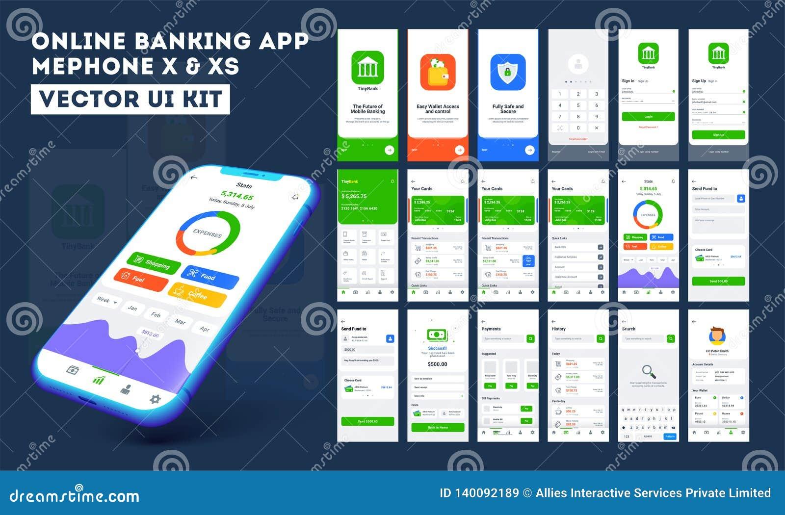 Equipo del ui del app de la actividad bancaria en línea para el app móvil responsivo o página web con diversa disposición