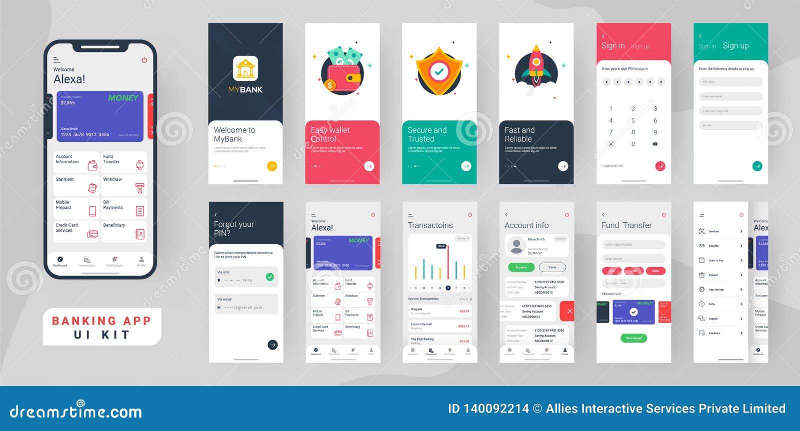 Equipo del ui del app de las actividades bancarias para el app móvil responsivo o página web con diversa disposición