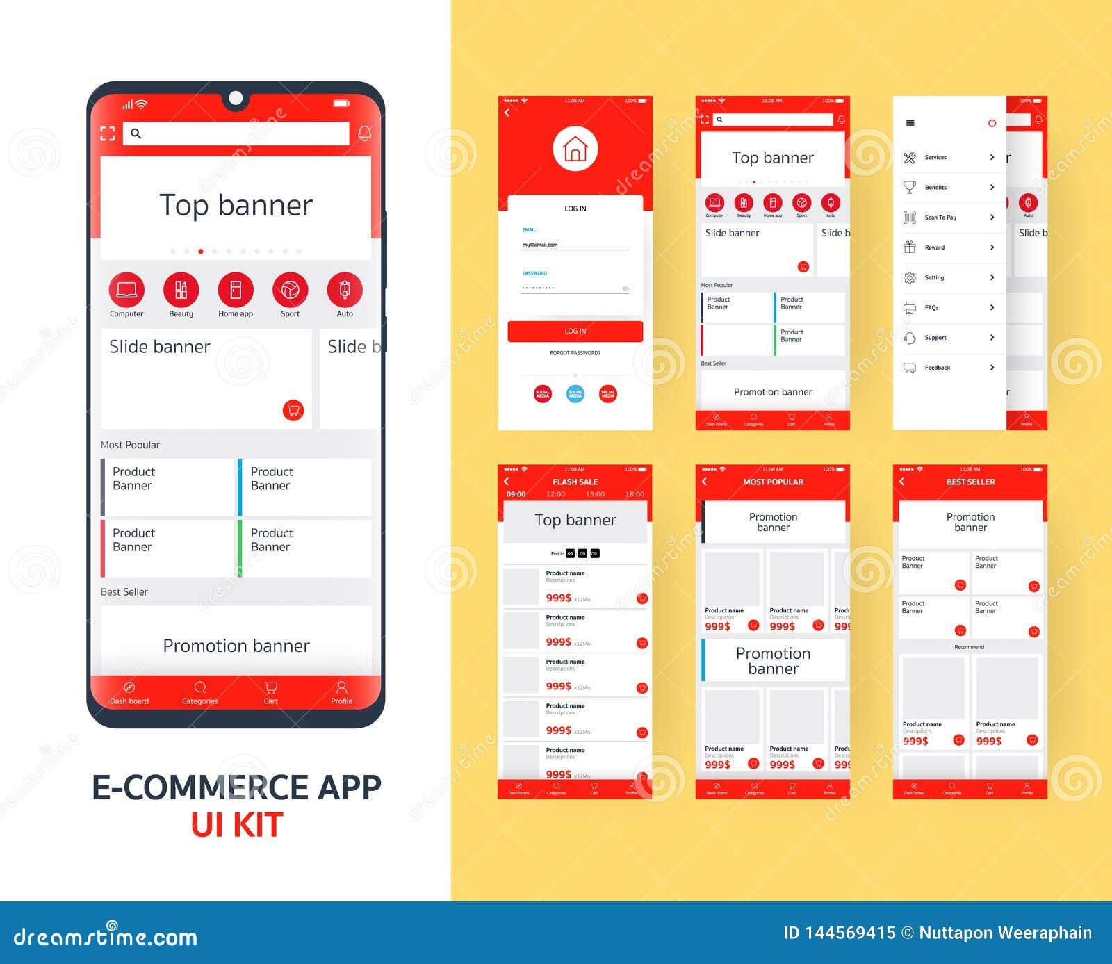 Equipo en l?nea del app UI del comercio electr?nico para el app m?vil responsivo con diversa disposici?n del GUI incluyendo la cl