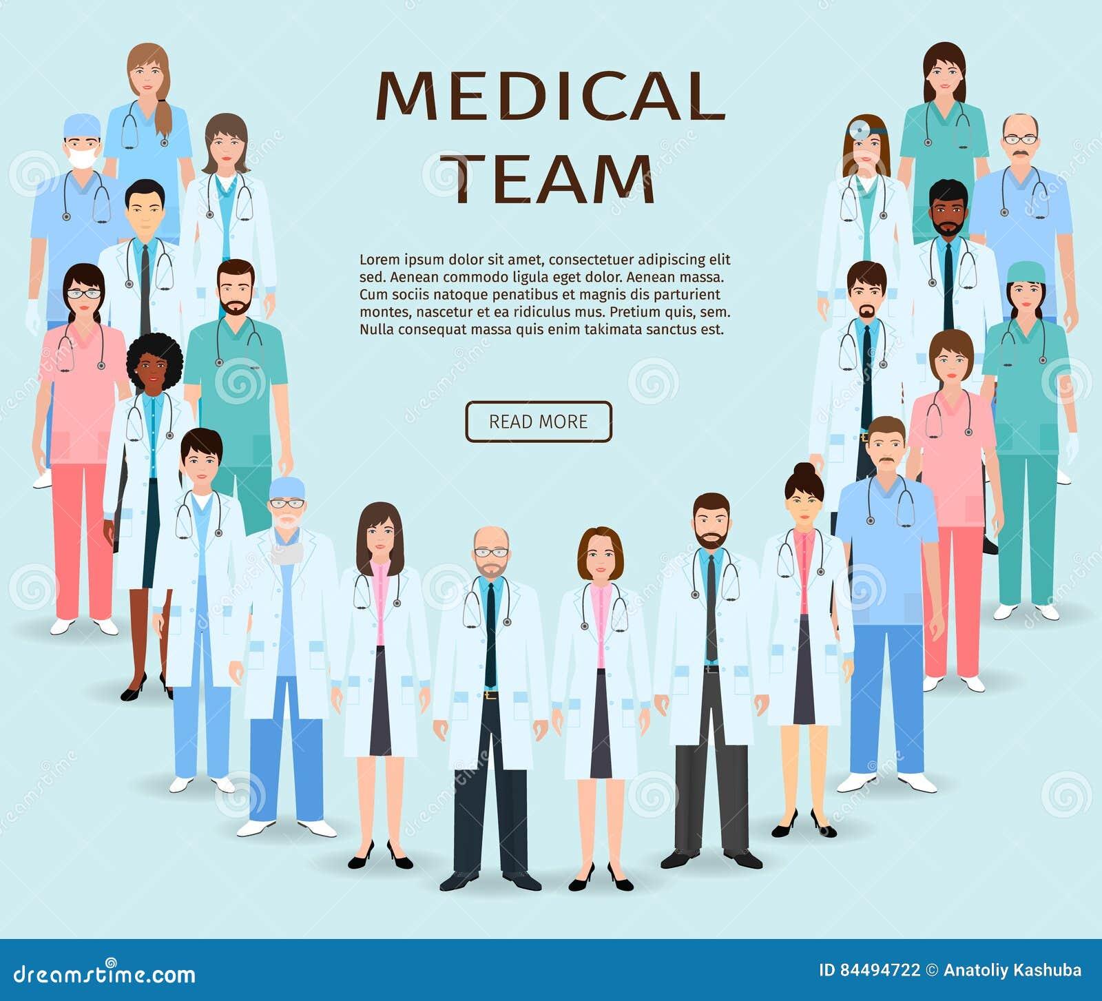 Equipo médico Doctores y enfermeras del grupo que se unen Bandera del sitio web de la medicina Personal hospitalario