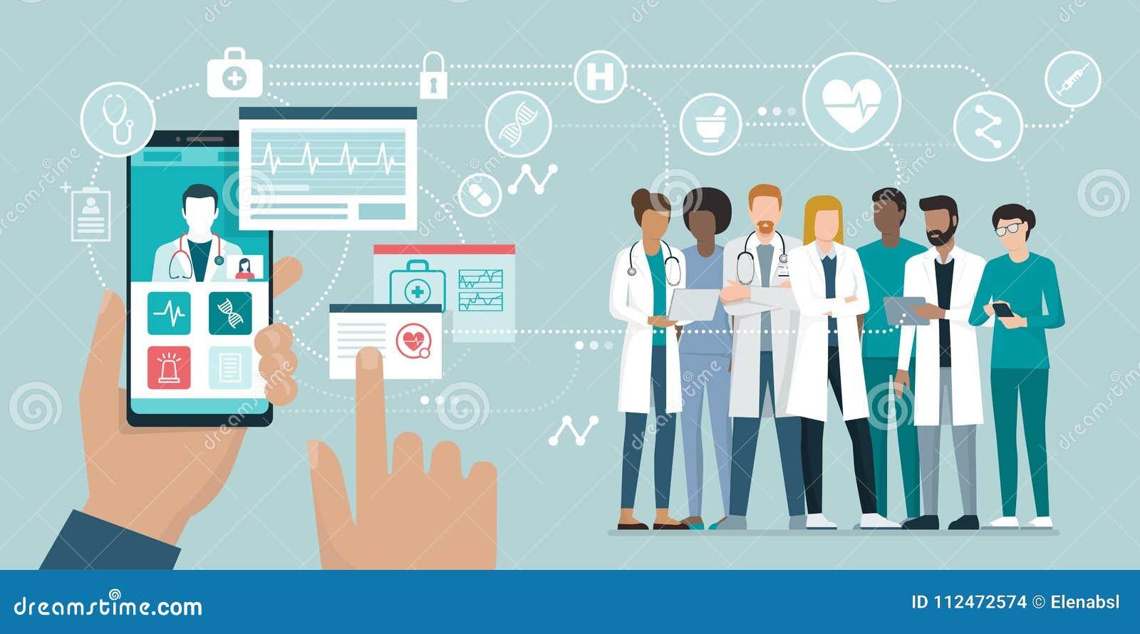 Equipo médico y atención sanitaria app
