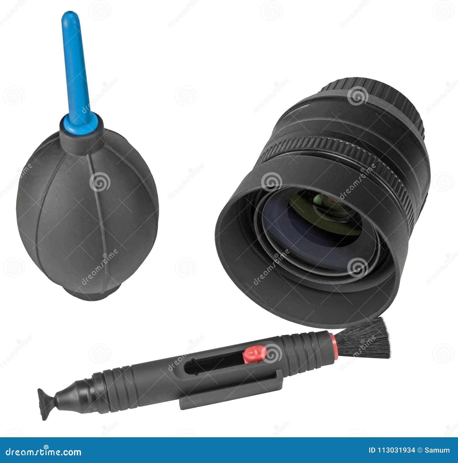 Equipo para la cámara digital de limpieza de la lente en blanco