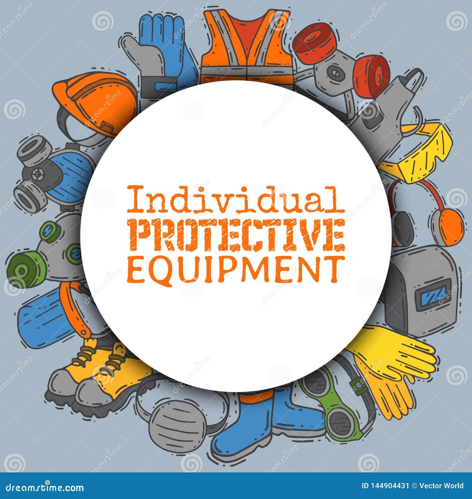 Equipo protector individual para el ejemplo seguro del vector del trabajo Venta grande en fuentes de salud y de la seguridad alre