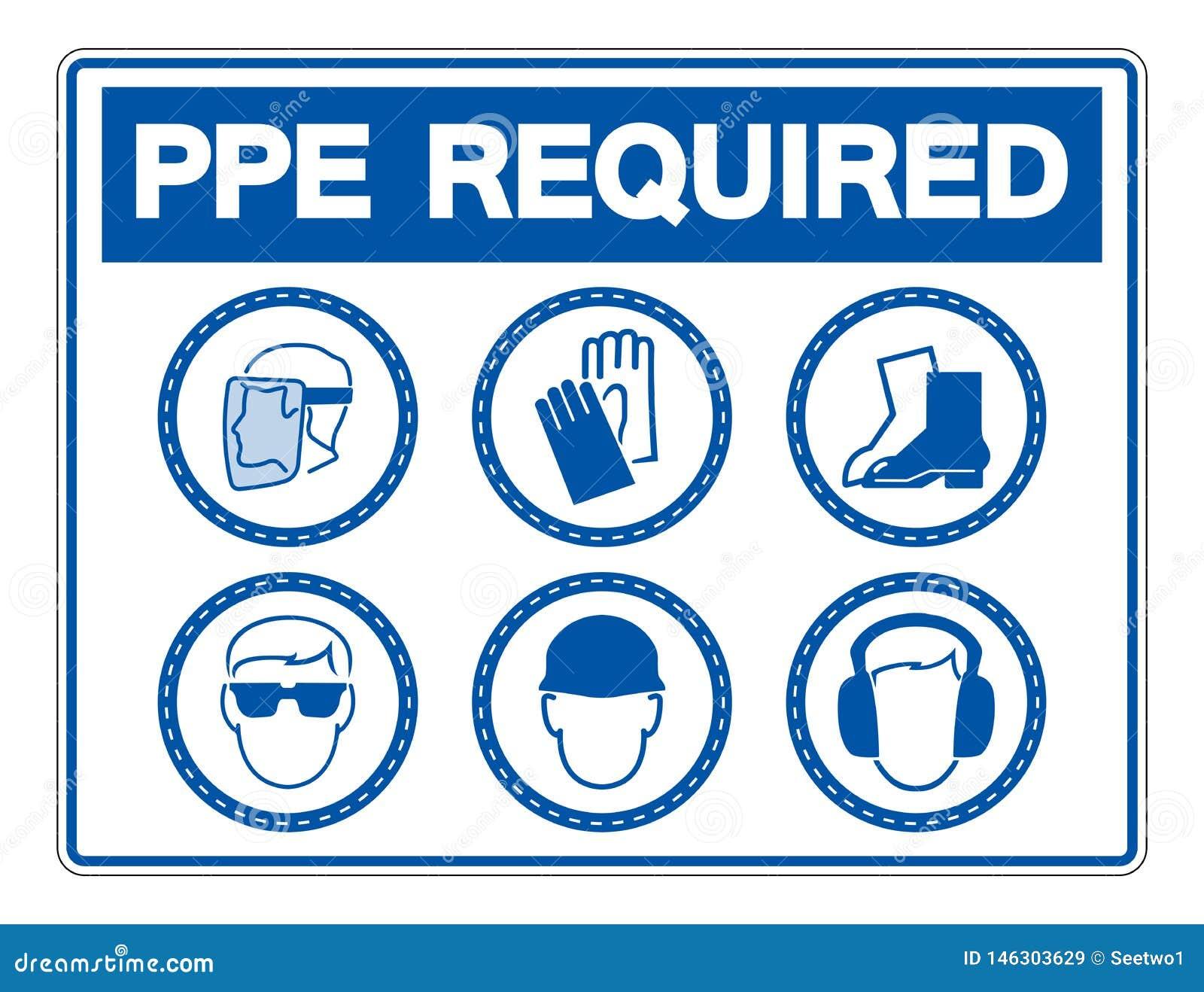 Equipo protector personal requerido ( PPE) S?mbolo, icono de la seguridad, ejemplo del vector