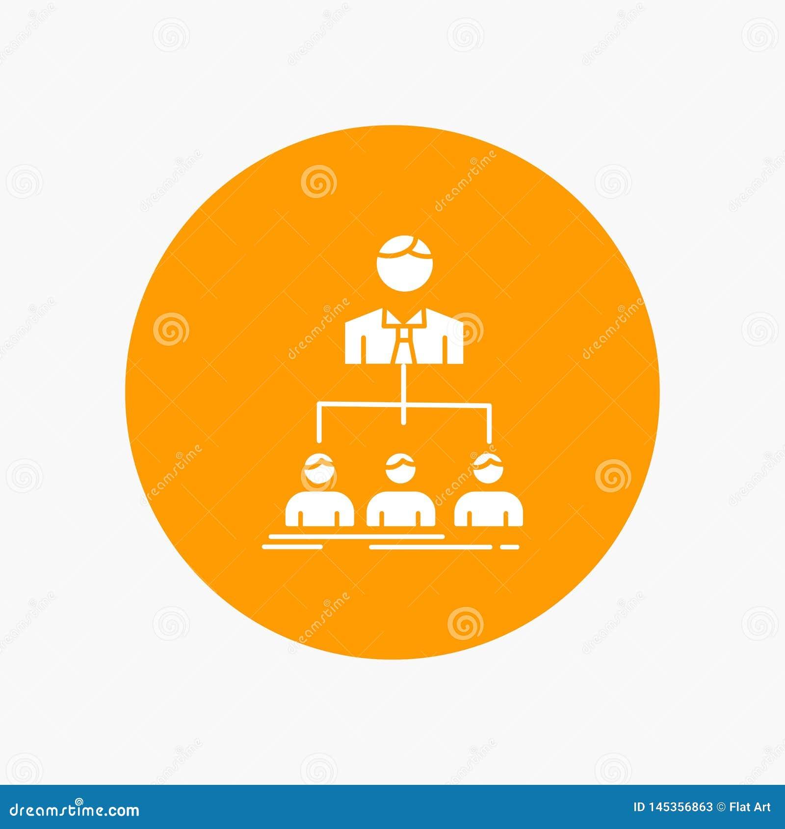 Equipo, trabajo en equipo, organización, grupo, icono blanco del Glyph de la compañía en círculo Ejemplo del bot?n del vector