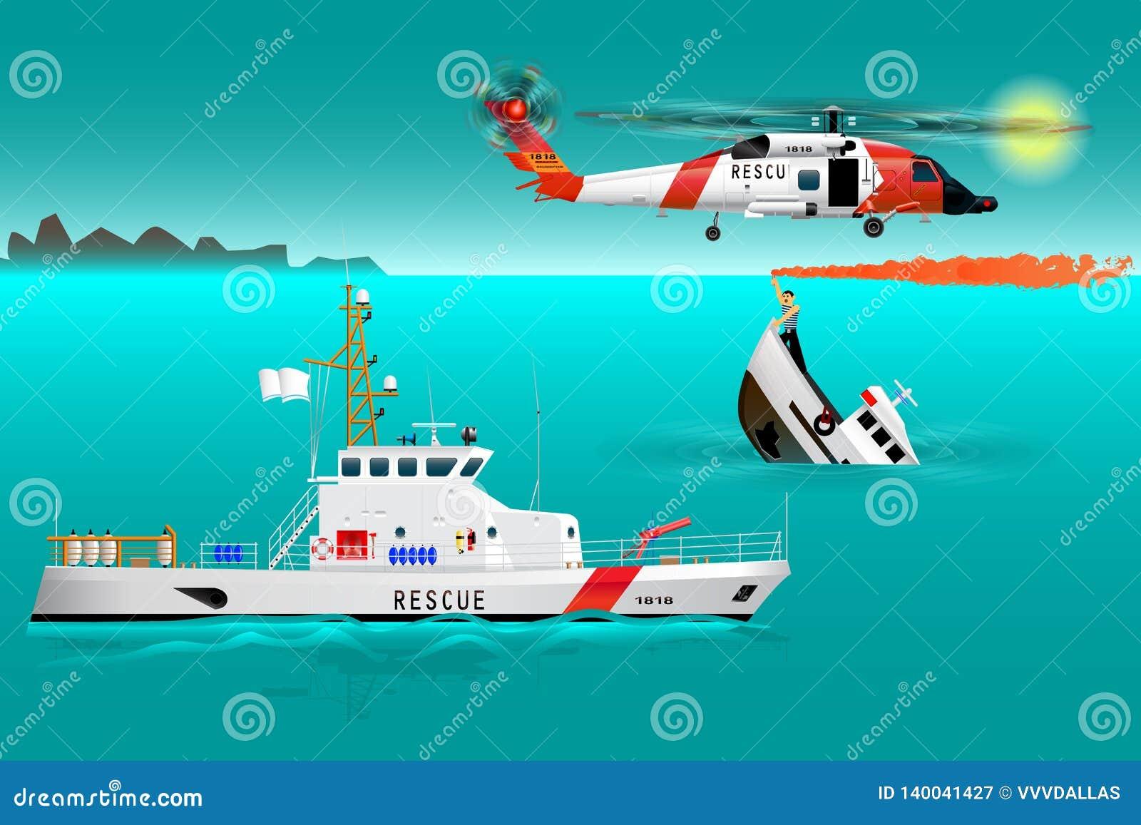 Equipos de rescate y nave del helicóptero en el mar Seguridad de la costa Barco de hundimiento El marinero toma una señal de deso