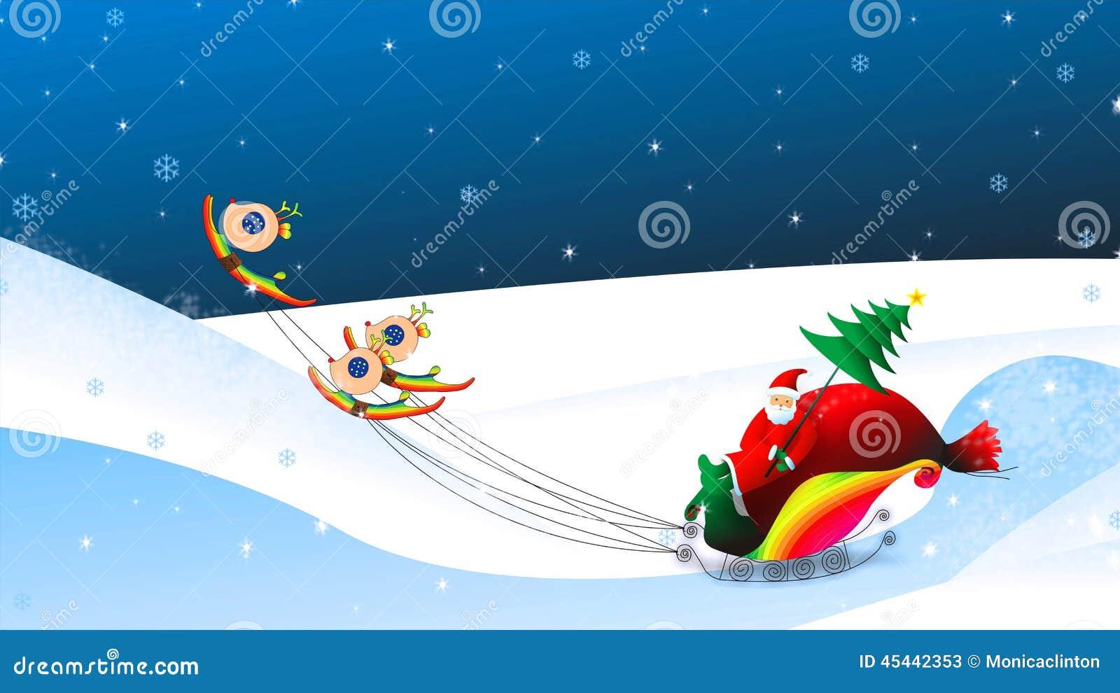 Equitação de Santa Claus do Natal na ilustração do trenó