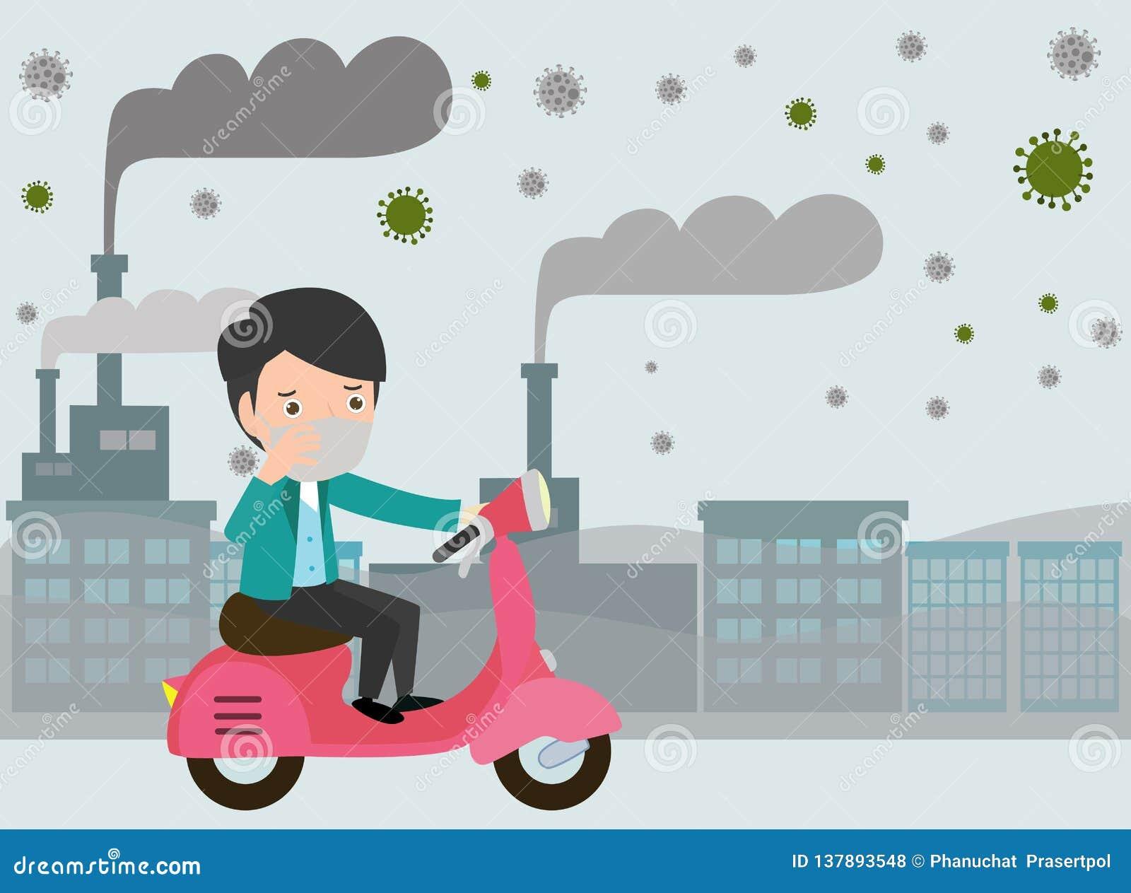 Equitação do homem em seus velomotor , máscara vestindo do homem contra a poluição atmosférica Poeira fina, poluição do ar