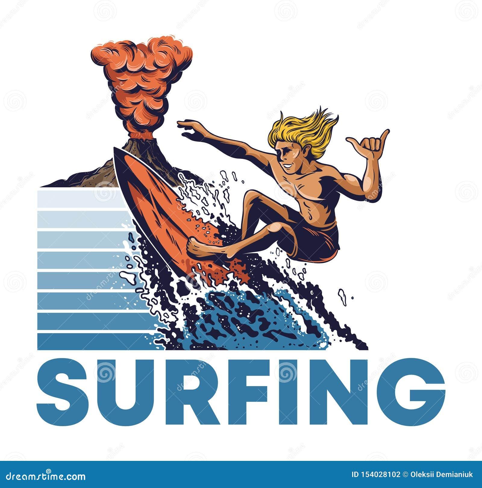 Equitação extrema do surfista do homem na onda de oceano grande