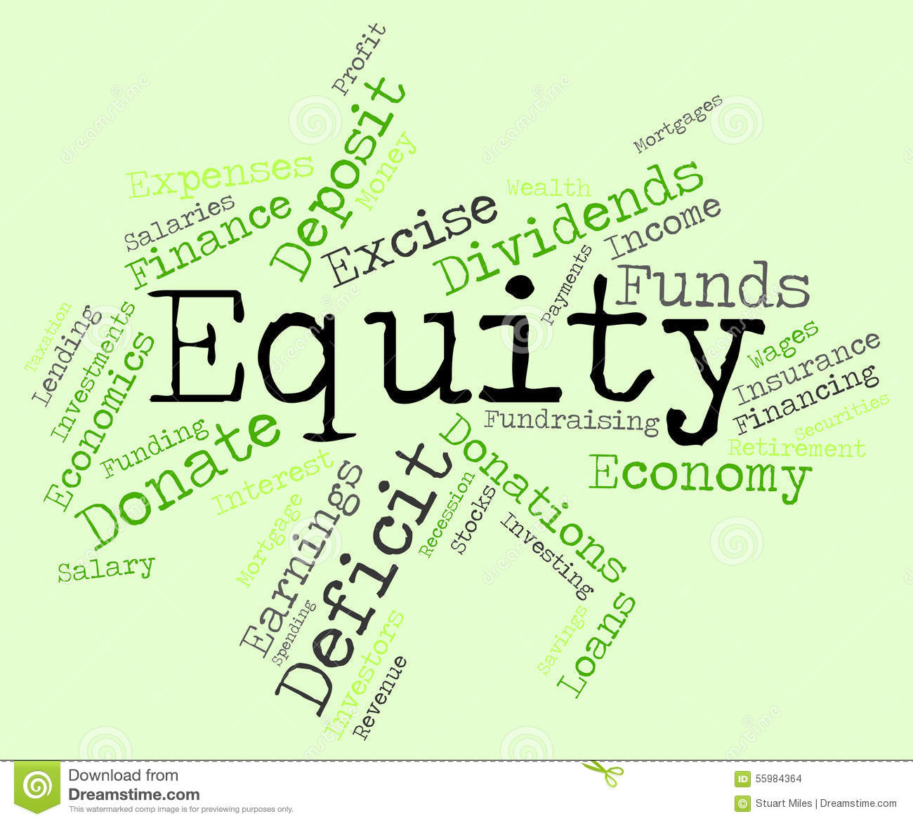 Equity Resources: Equity Word Shows Text Riches And Assets Stock