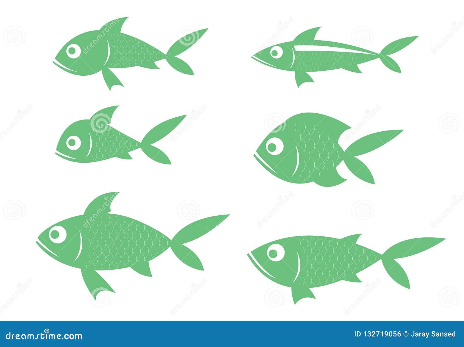 Er zijn vele species van vissen, snakken de groene rijen