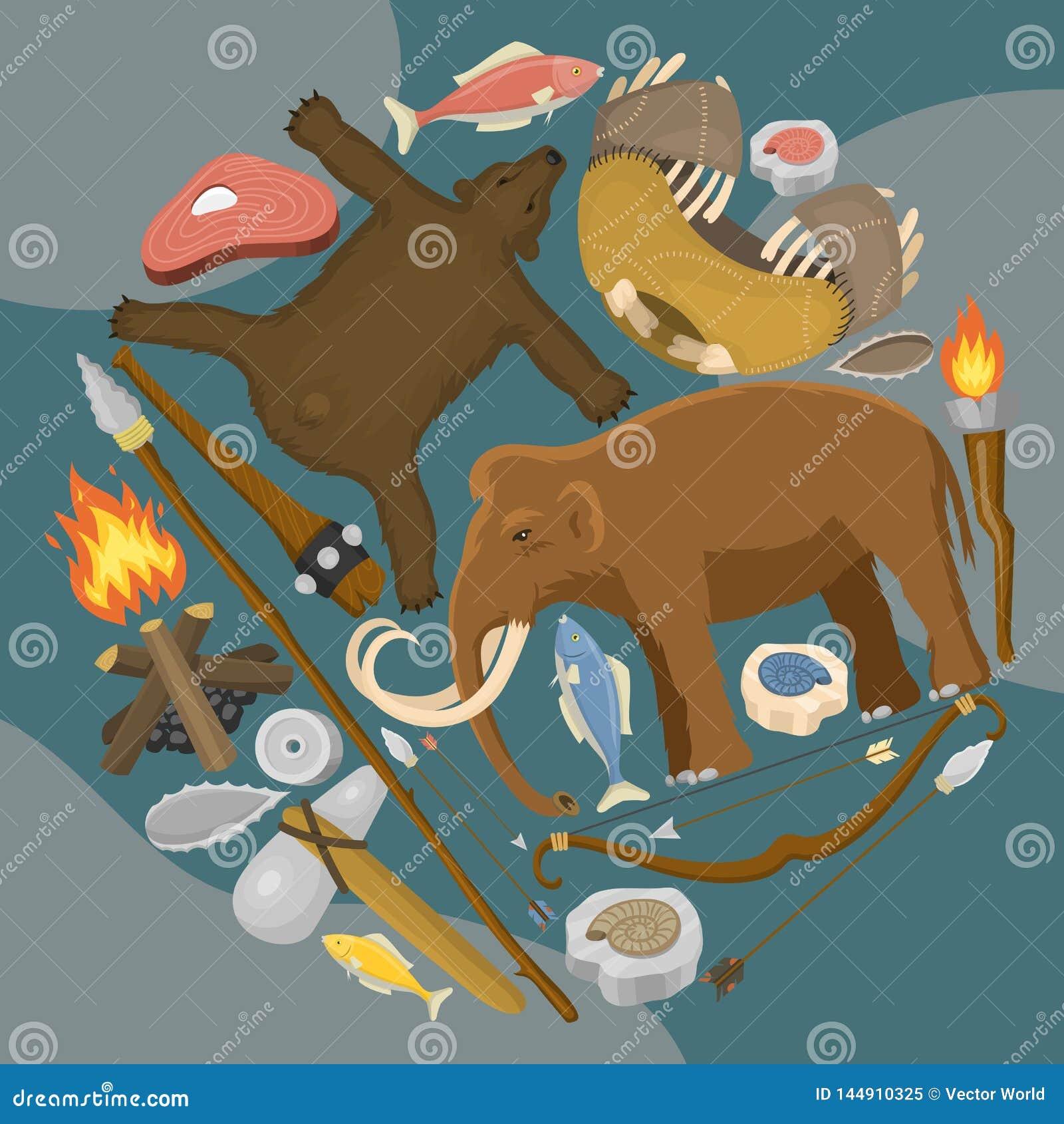 Era kamienia ?upanego prehistorycznego ?ycia round wzoru wektoru pierwotna ilustracja Antyczni narz?dzia i zwierz?ta ?owieckie br