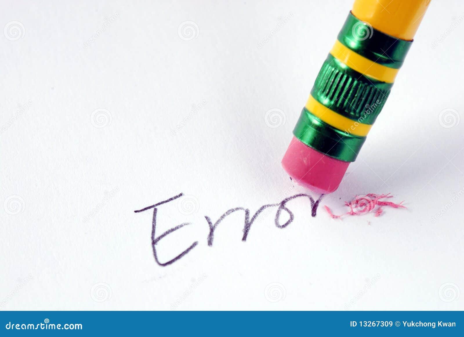 Erase błędu gumowy słowo