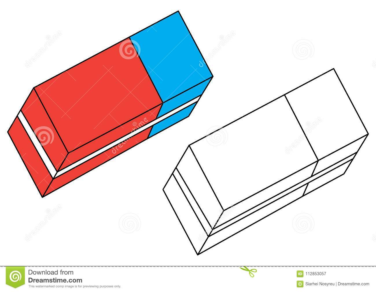 Eraser. Coloring Page. Vector Stock Vector - Illustration of ...