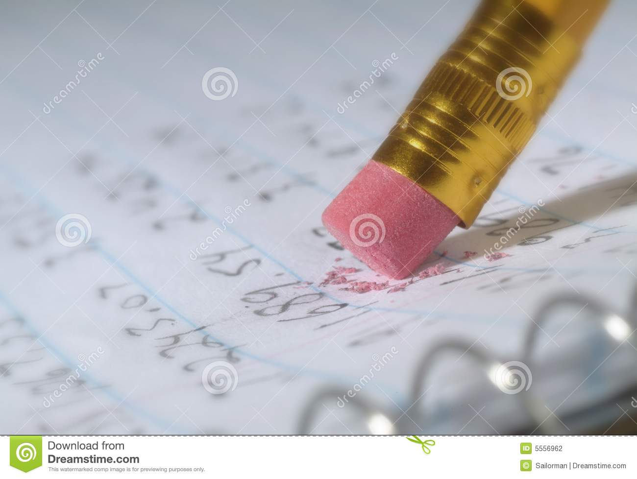Erasing A Mistake On Piece Of Paper