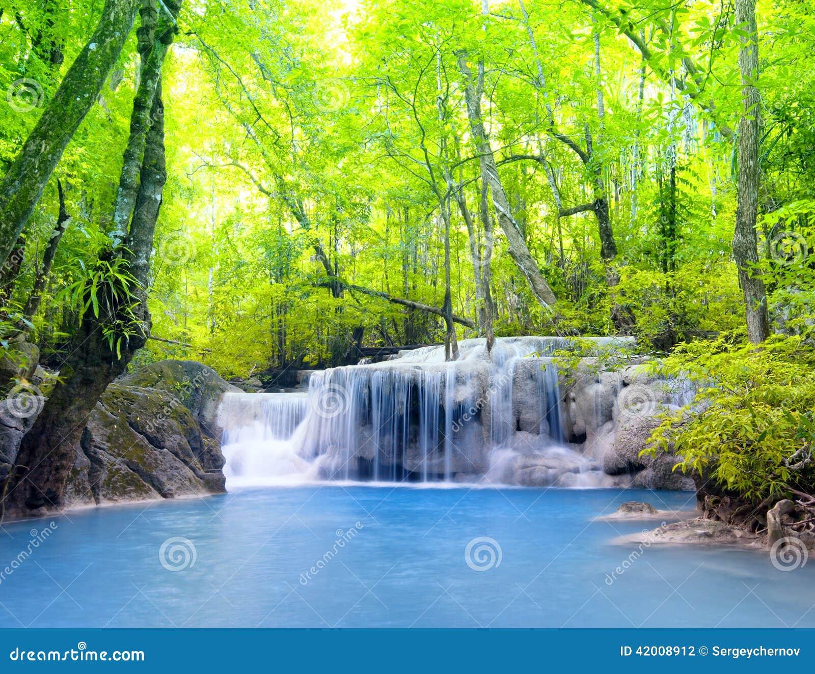 Beautiful Nature House: Erawan Waterfall In Thailand. Beautiful Nature Stock Photo