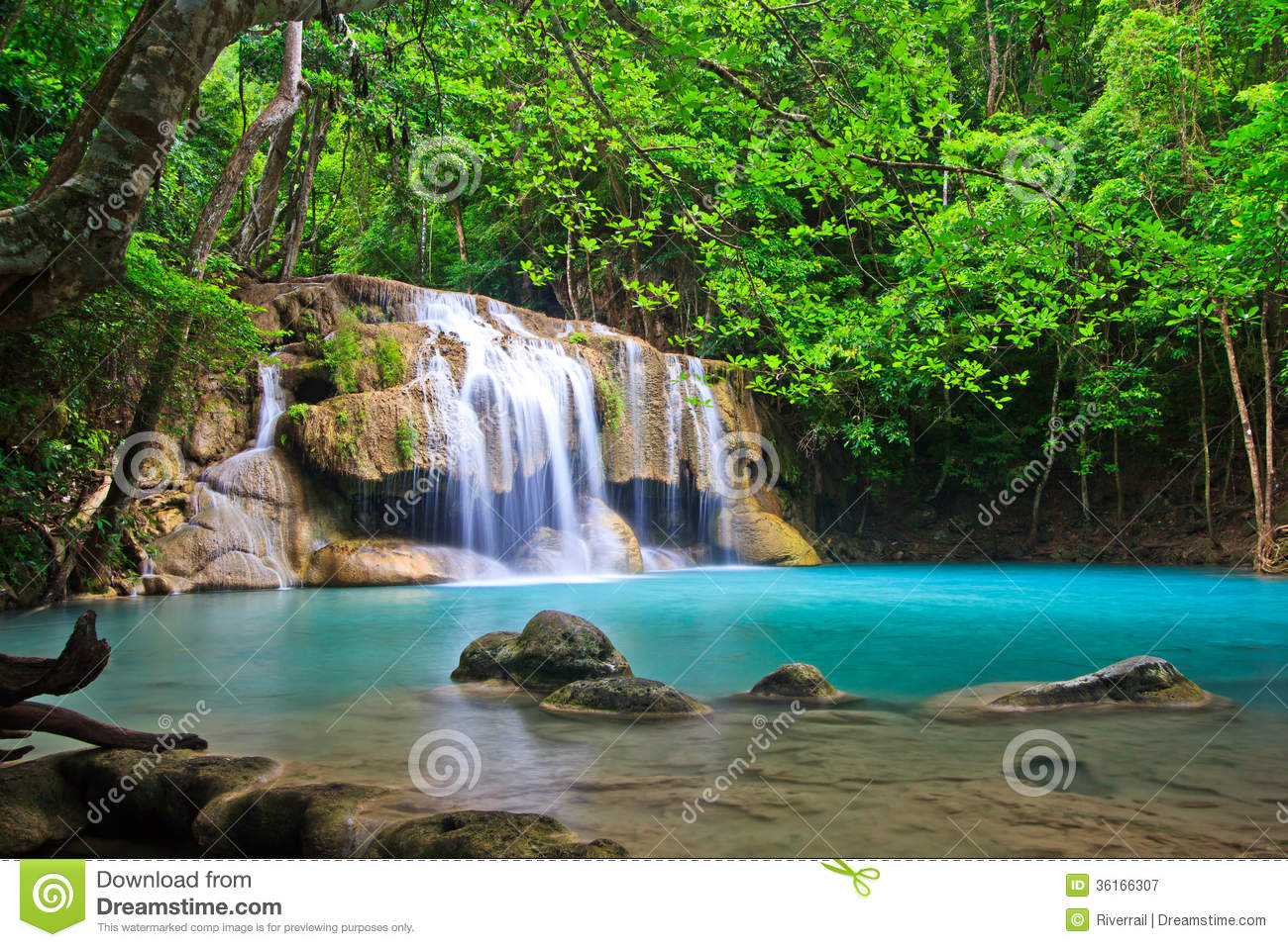 Erawan Waterfall In Thailand Royalty Free Stock ...