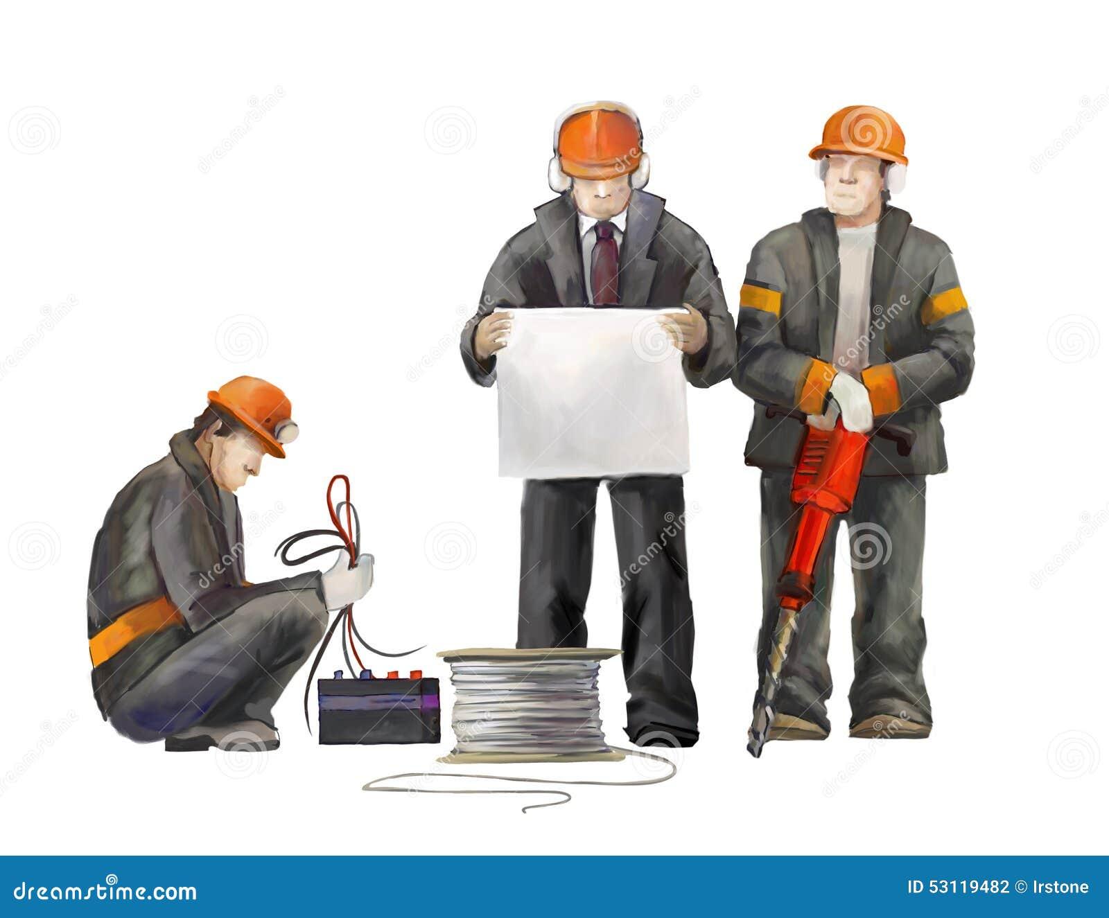 Erbauer auf der Baustelle Industrielle Illustration mit Arbeitskräften, Kränen und Mischermaschine