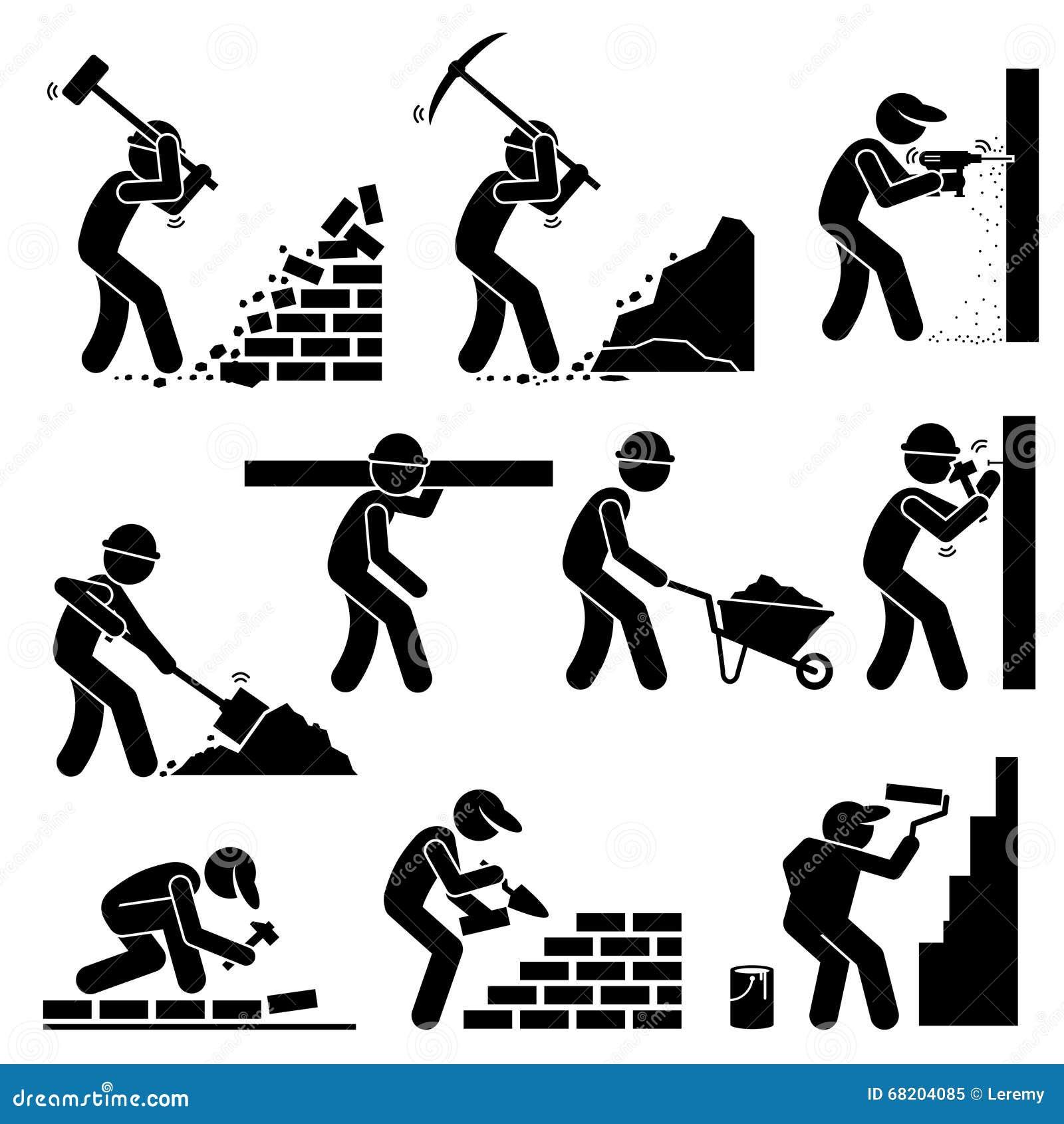 Bauarbeiter clipart schwarz weiß  Erbauer-Erbauer-Arbeitskräfte, Die Häuser Clipart Bauen Vektor ...
