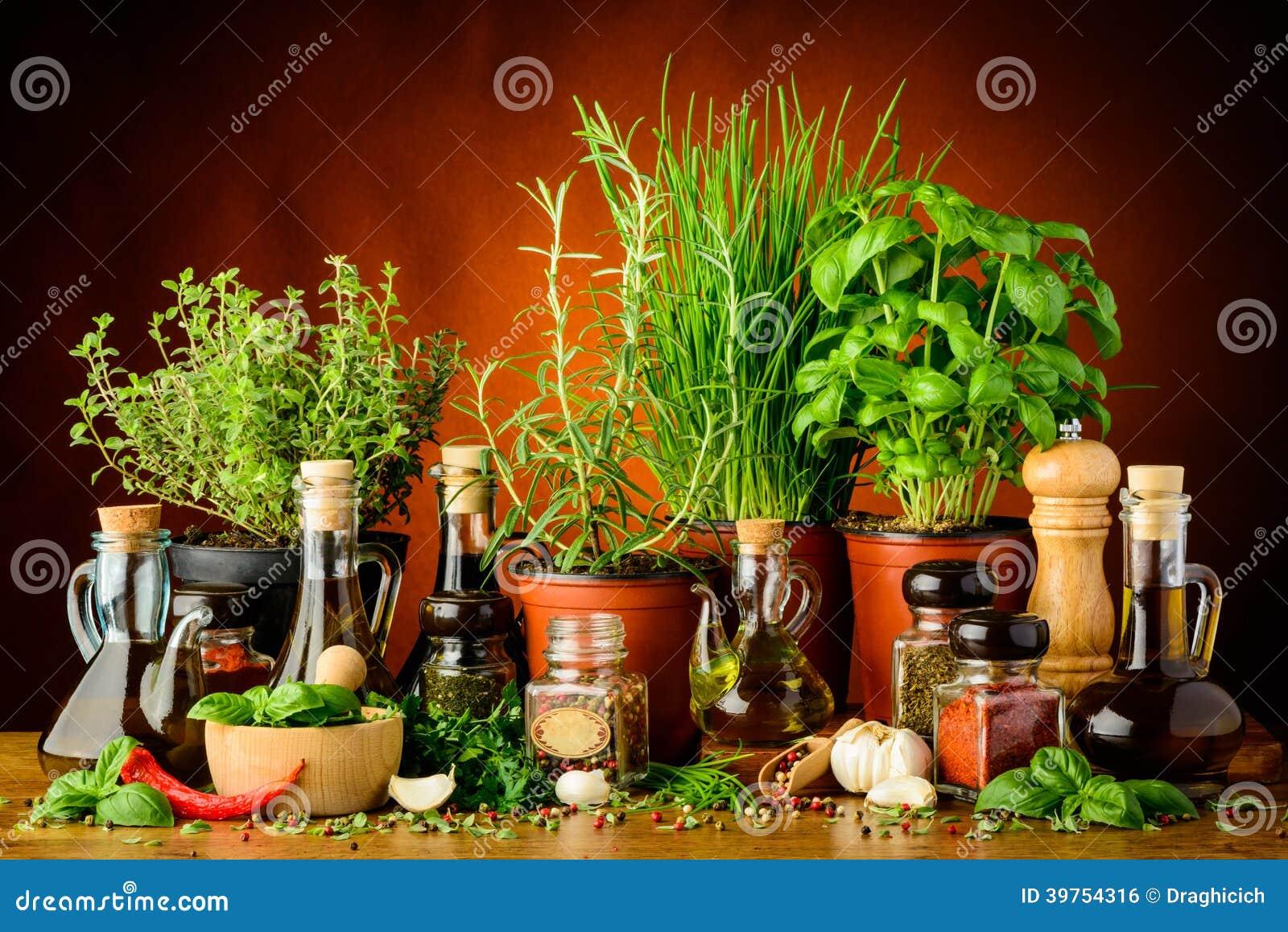 Erbe, spezie e olio d oliva