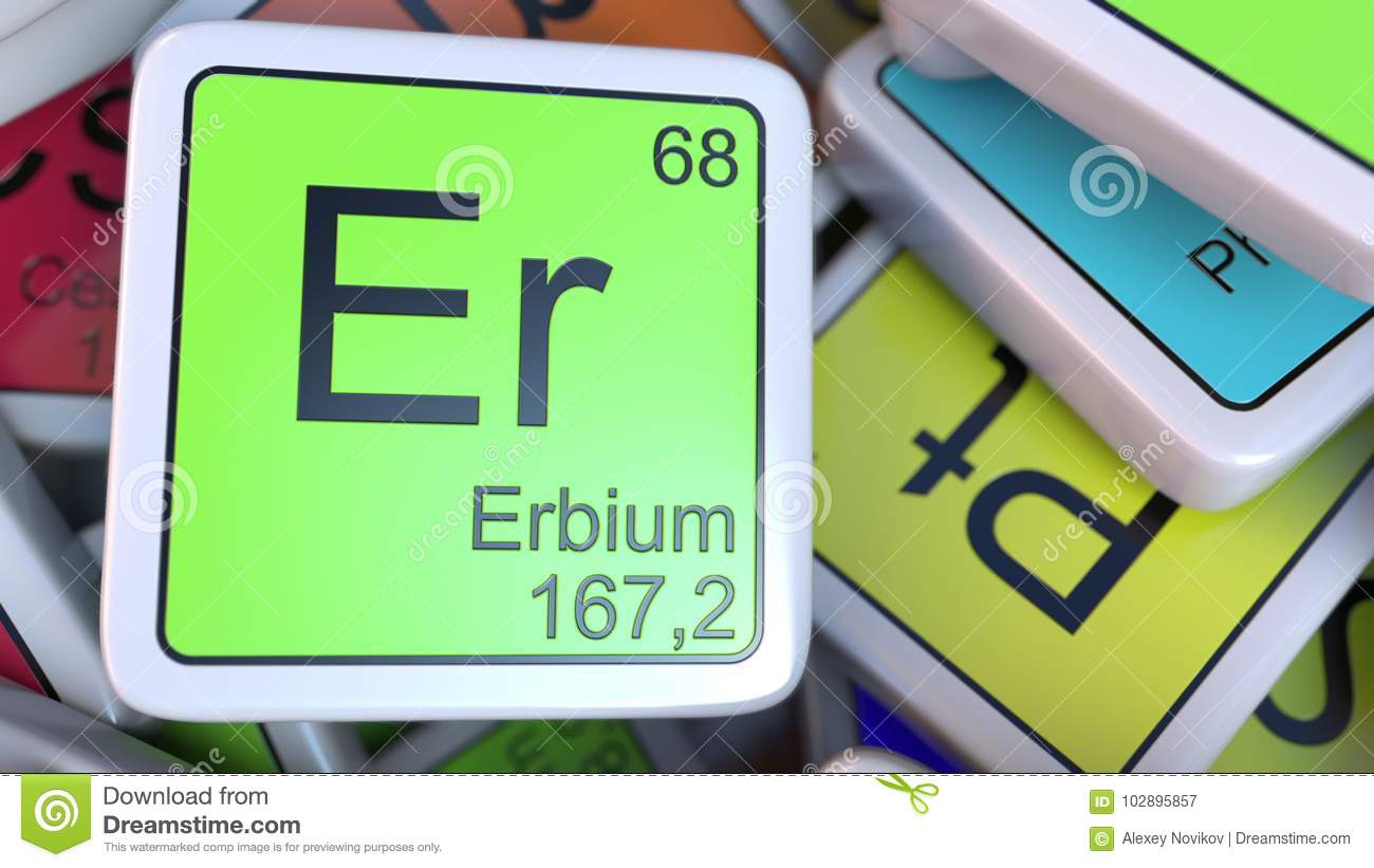 Erbium Er Block On The Pile Of Periodic Table Of The Chemical