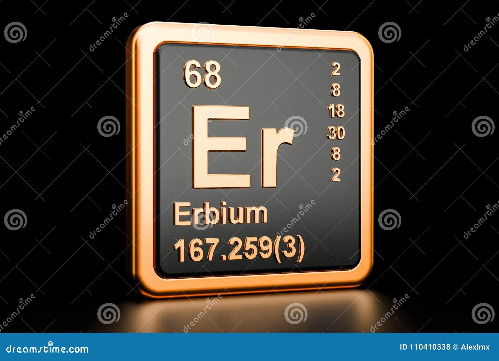 Erbium Er Chemical Element 3d Rendering Stock Illustration
