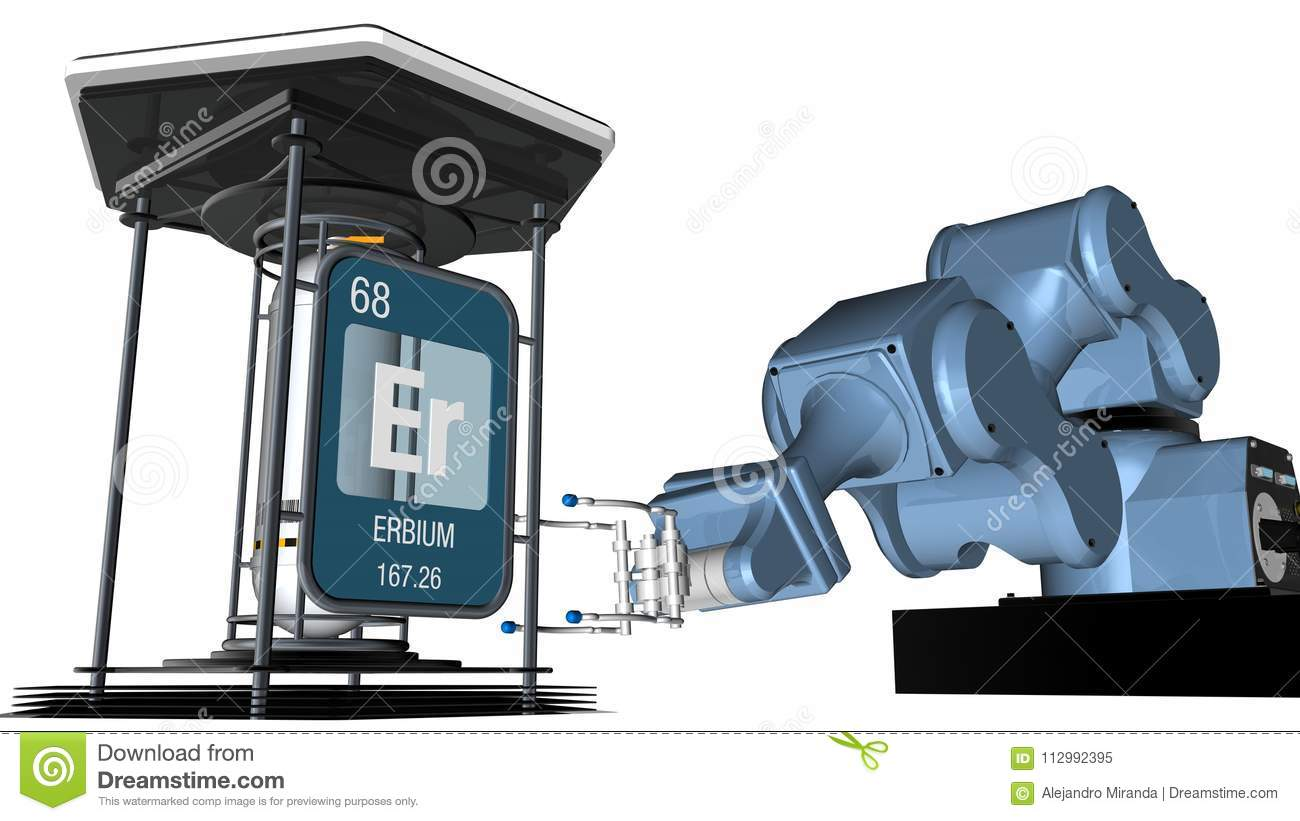 Erbium symbol in square shape with metallic edge in front of a mechanical arm that will hold a chemical container. 3D render.