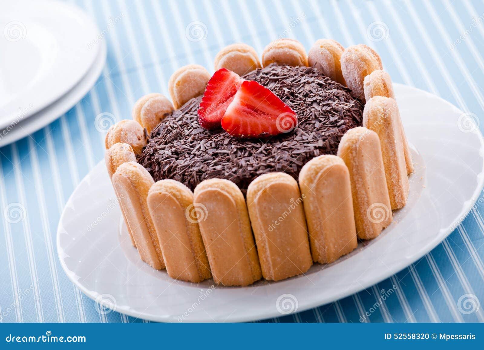 erdbeere und schokolade charlotte dessert stockfoto bild 52558320. Black Bedroom Furniture Sets. Home Design Ideas