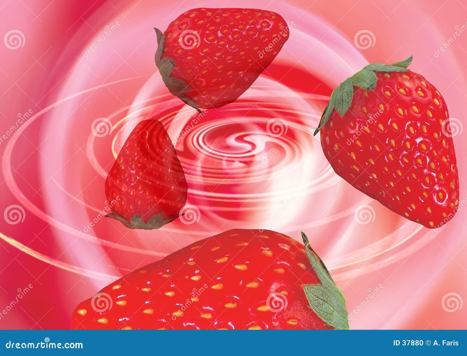 Erdbeeren in einem Strudel