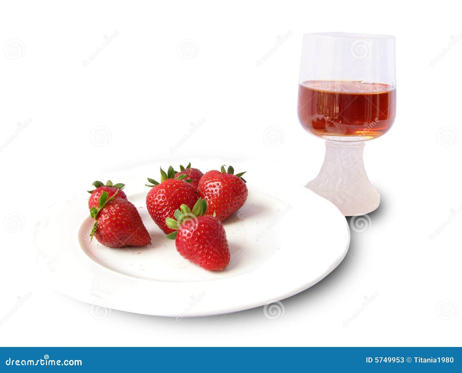 Erdbeeren und Wein