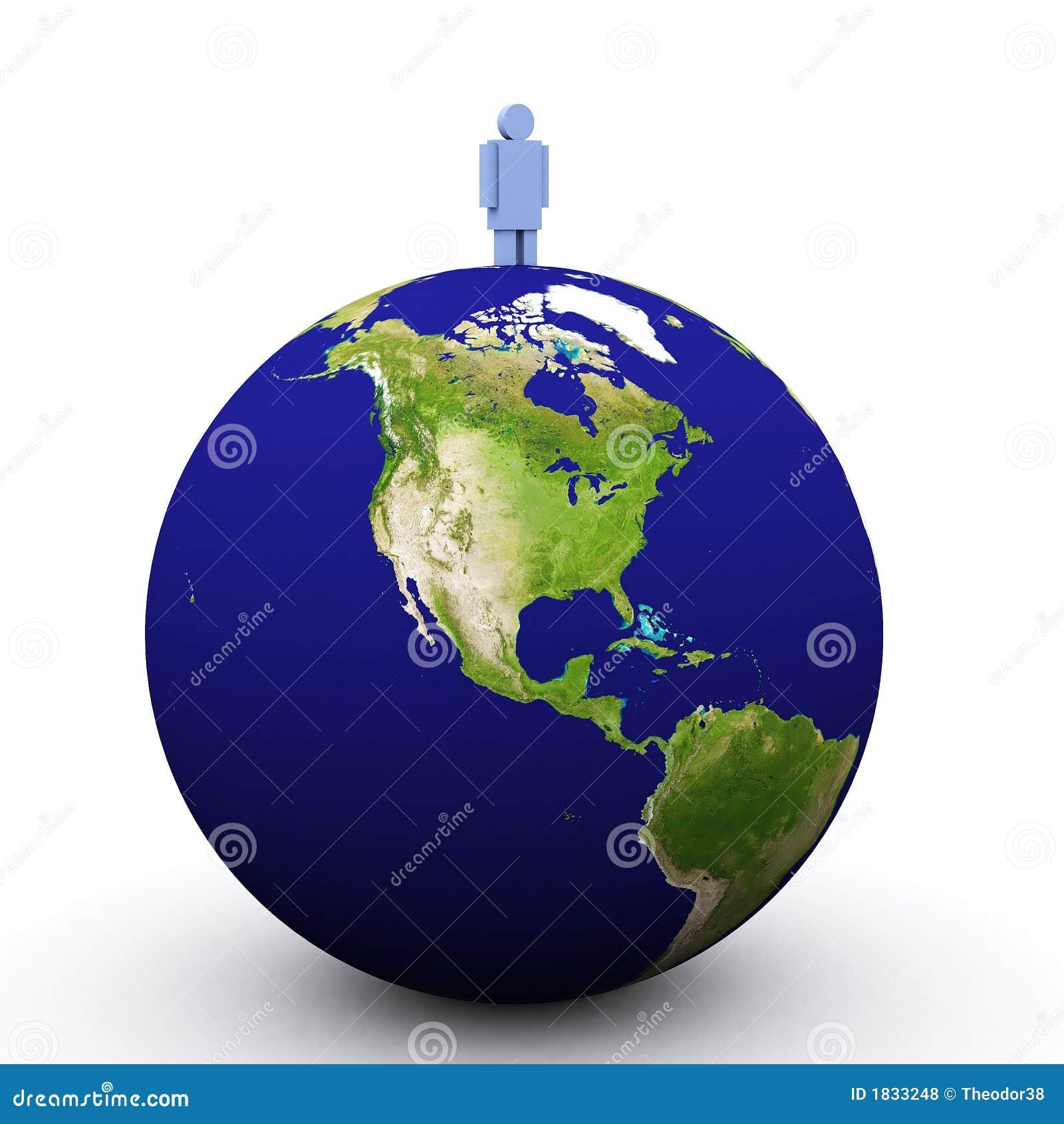 Erde 3d und Mann