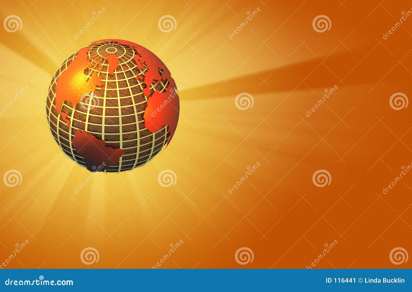 Erde, die Leuchte ausstrahlt - wärmen Sie sich - linke Lagebestimmung