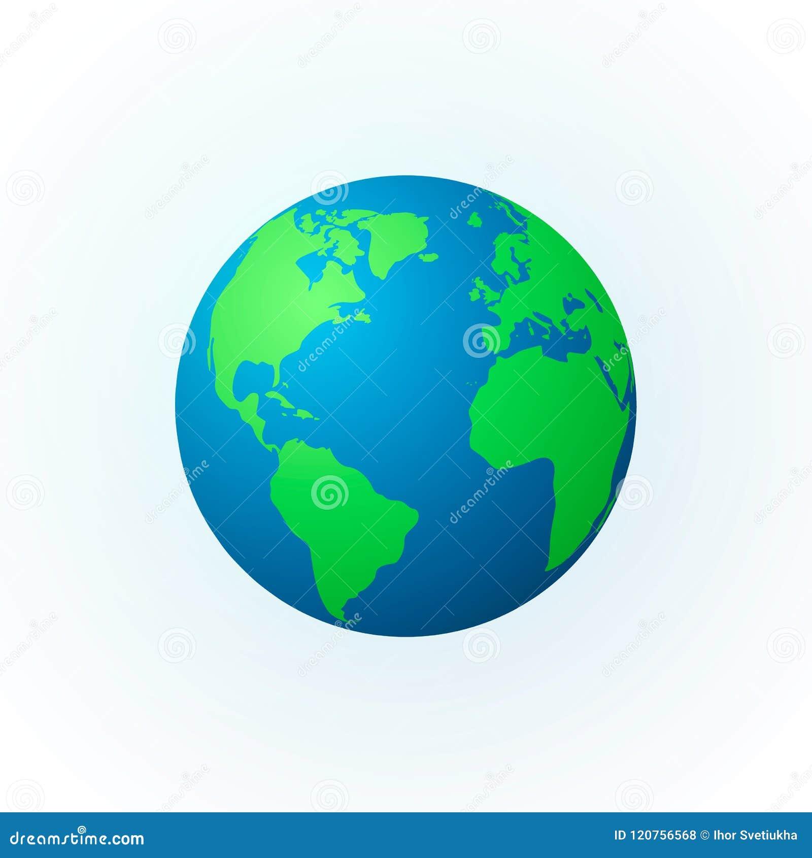 Erde in Form einer Kugel Erdplanetenikone Ausführliche farbige Weltkarte Vektorabbildung getrennt auf weißem Hintergrund