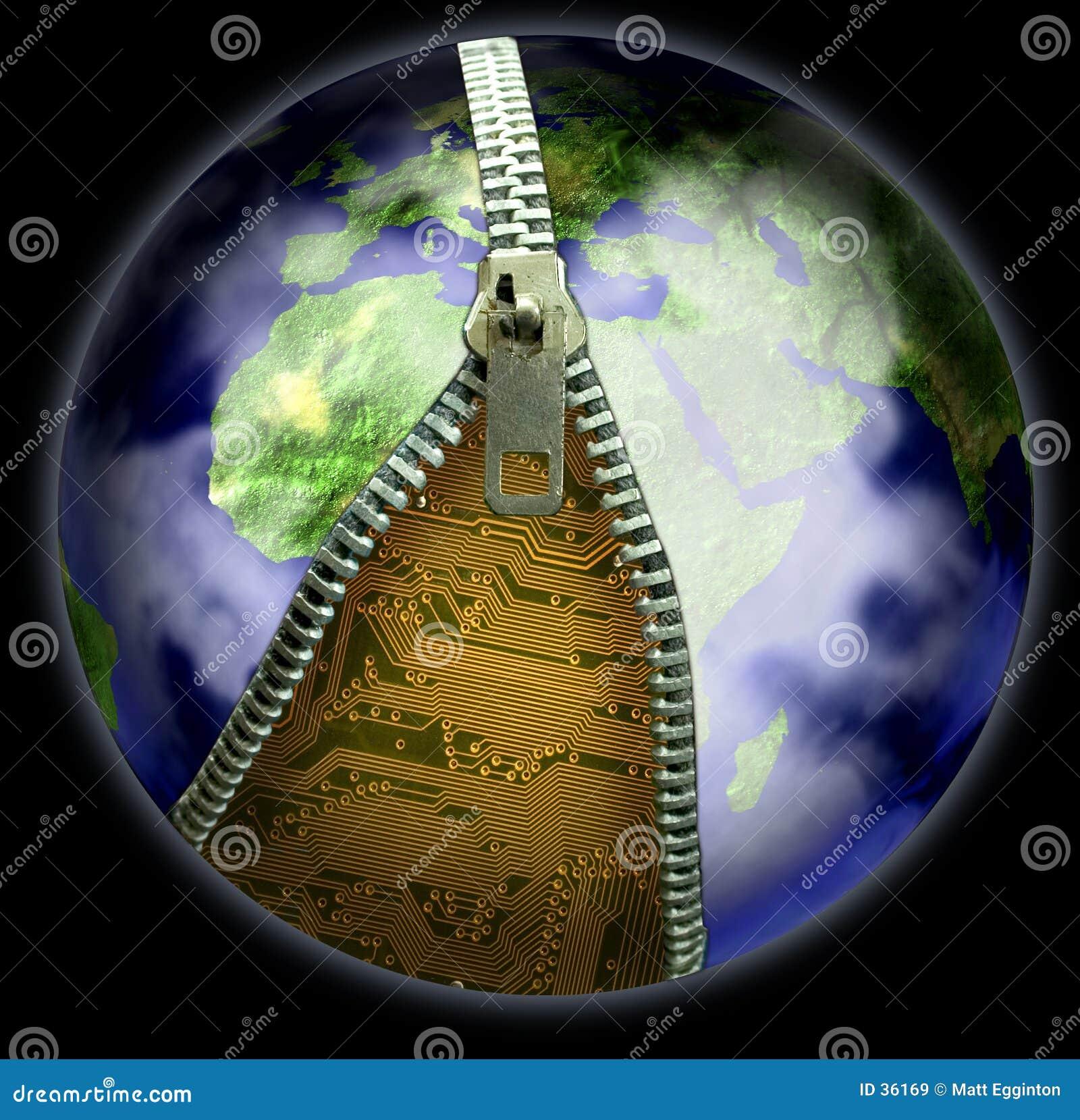 Erde und Reißverschluss