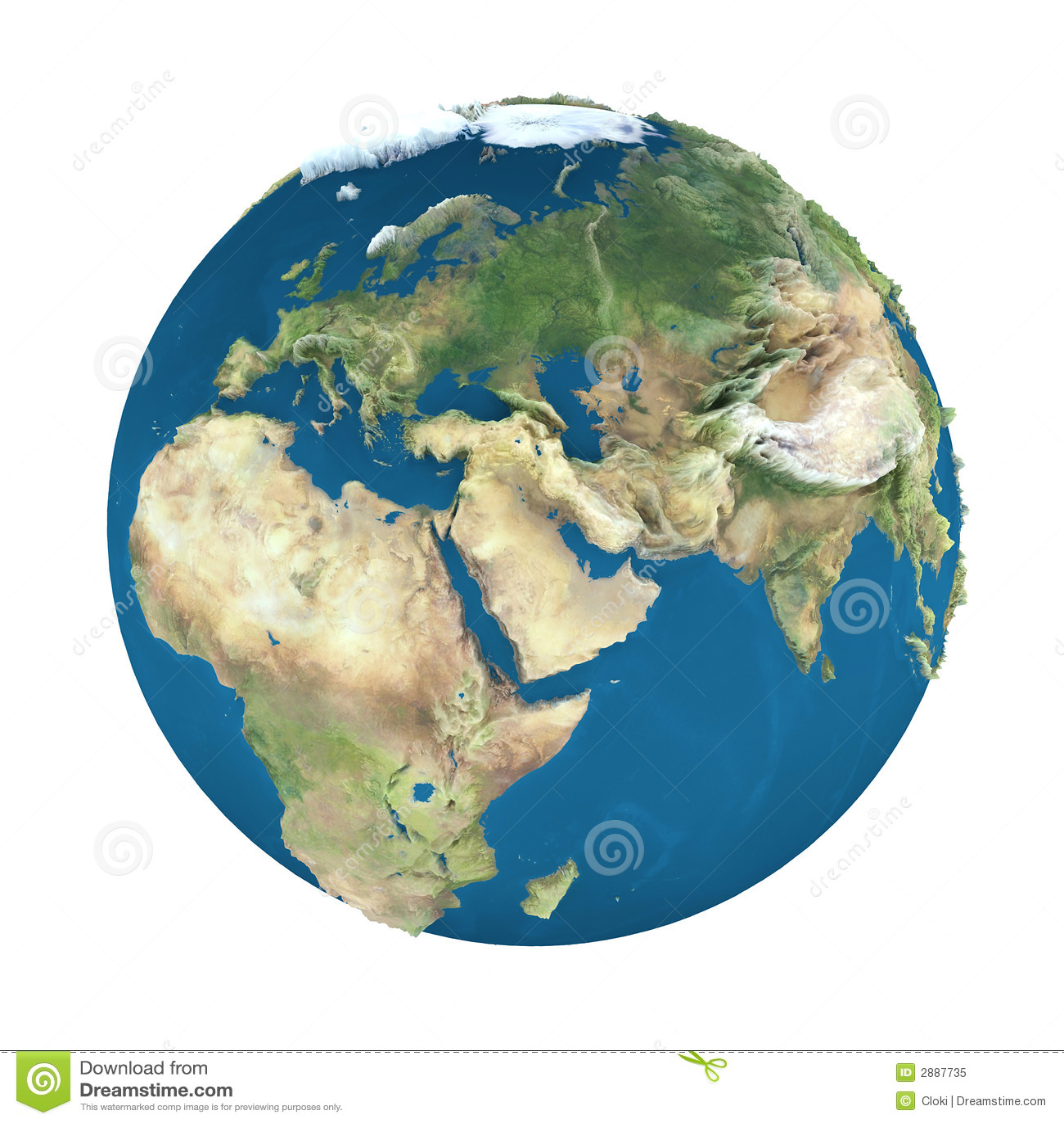 Erdekugel, getrennt auf Weiß