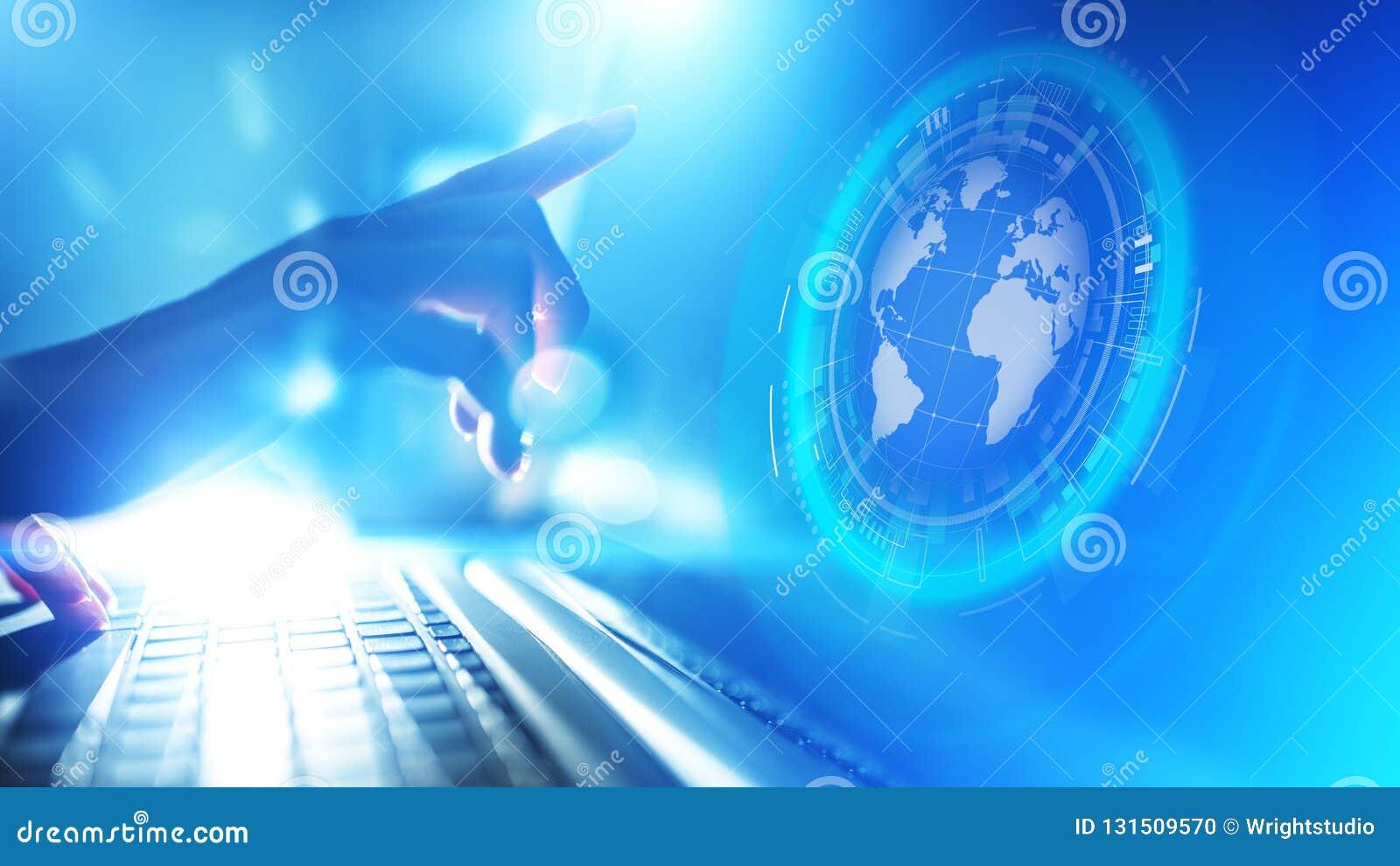Erdhologramm Planeten Weltweite Geschäfts Internet Telekommunikation