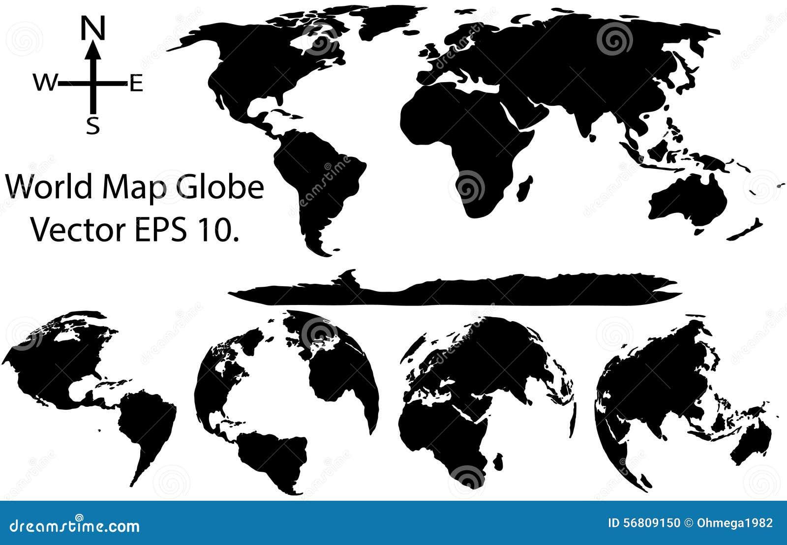 Erdkugel mit Weltkarte-Detail-Vektor-Illustrator
