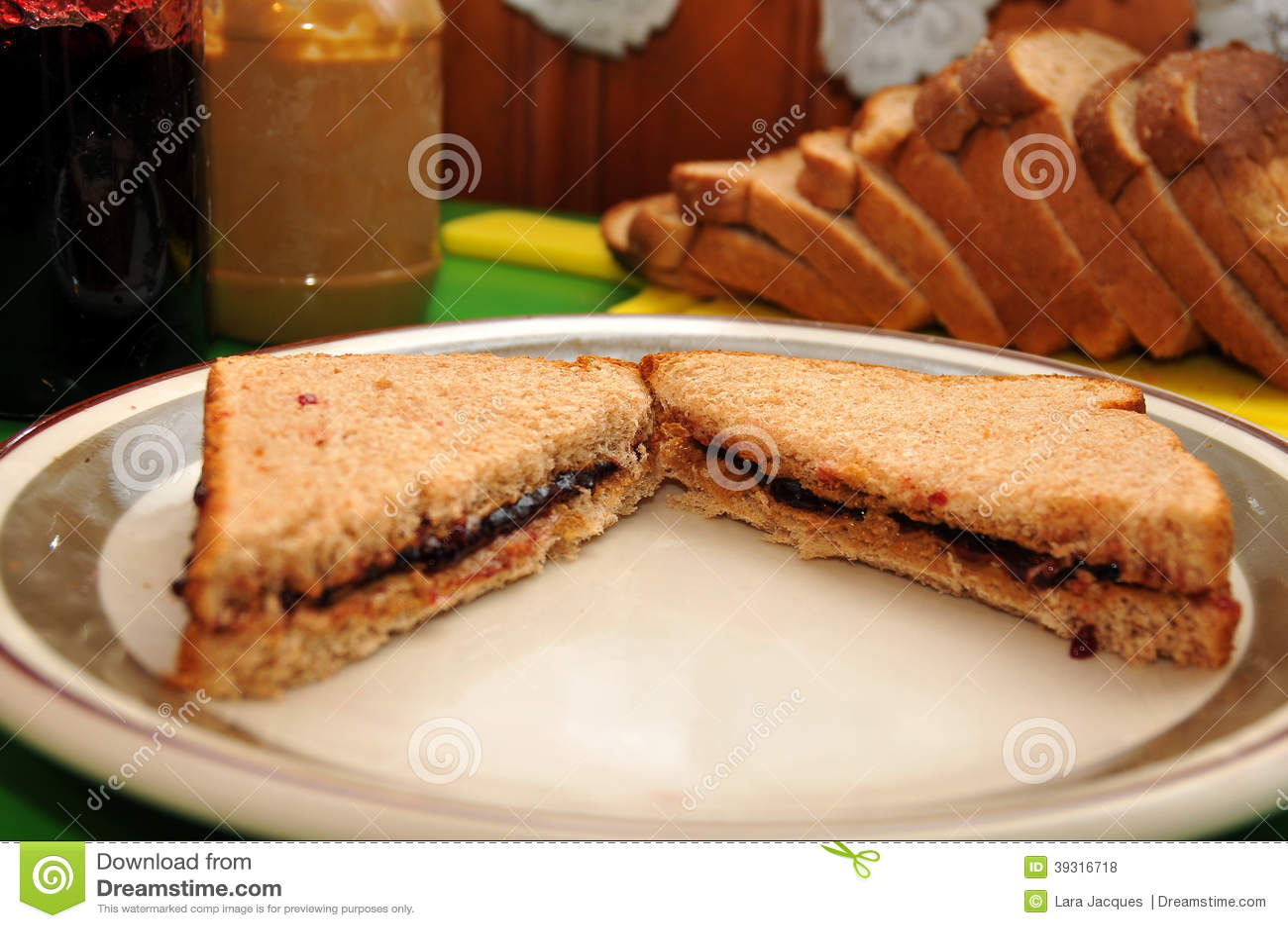 Erdnussbutter und Jelly Sandwich