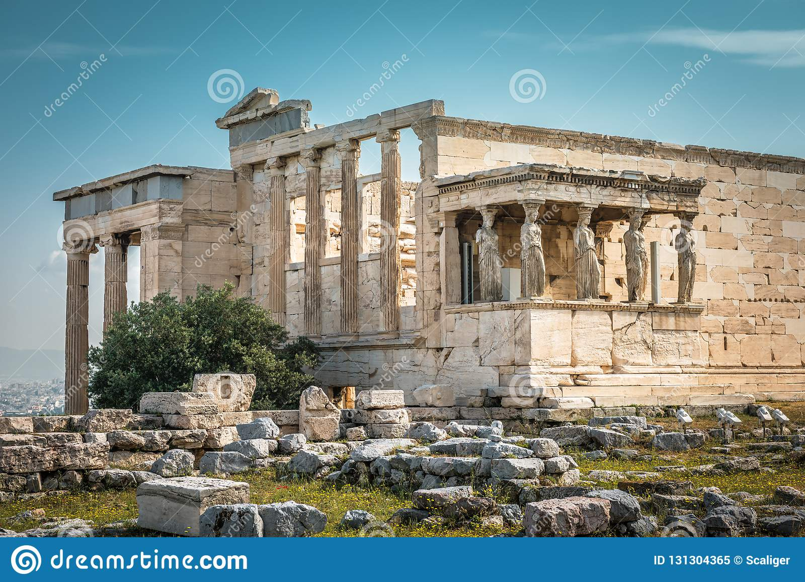 Erechtheion temple with Caryatid Porch on the Acropolis, Athens, Greece