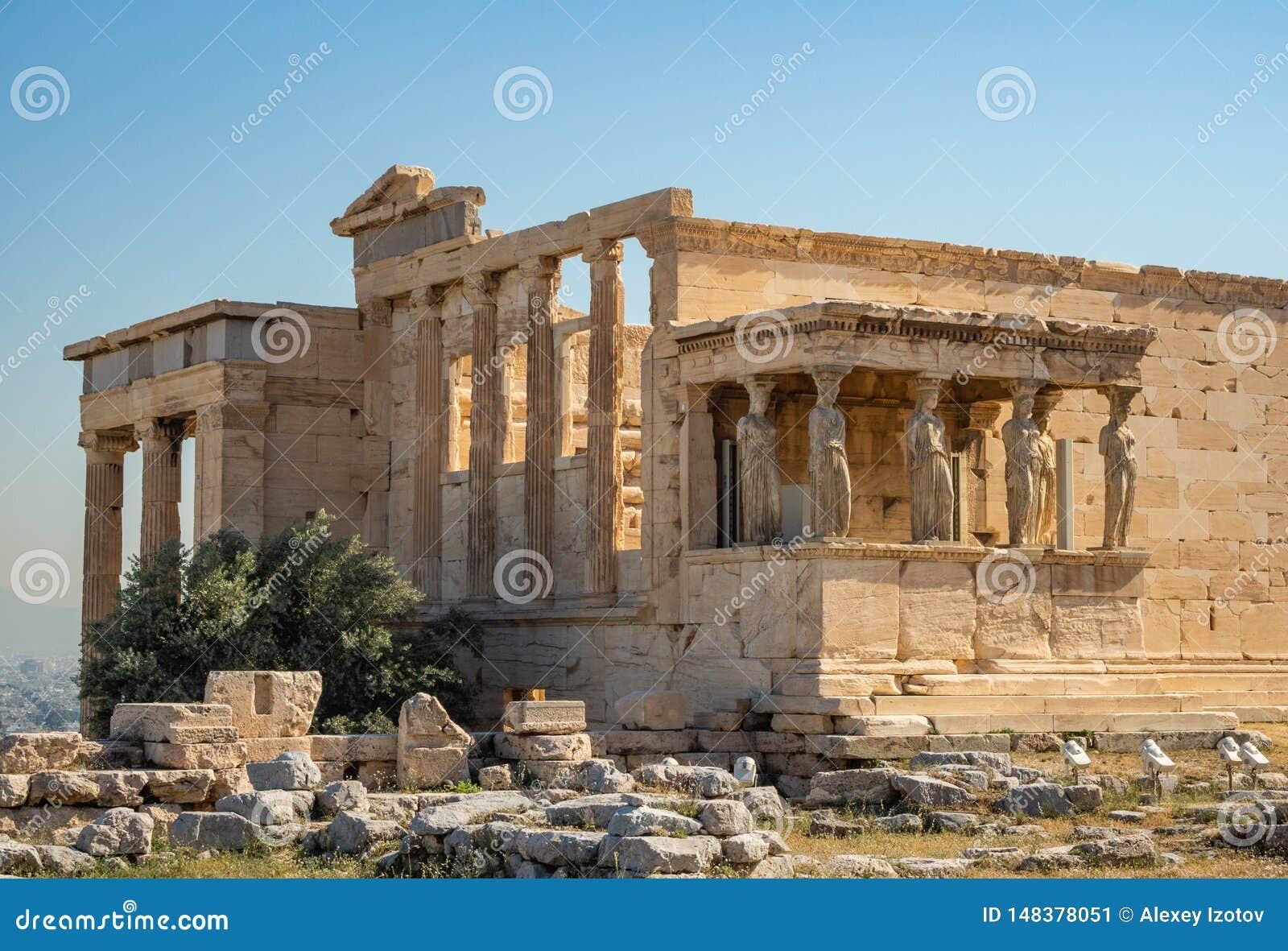 Erechtheion - um templo do grego clássico com um pórtico e as seis cariátides, construídos em honra de Atenas e de Poseidon, Gréc