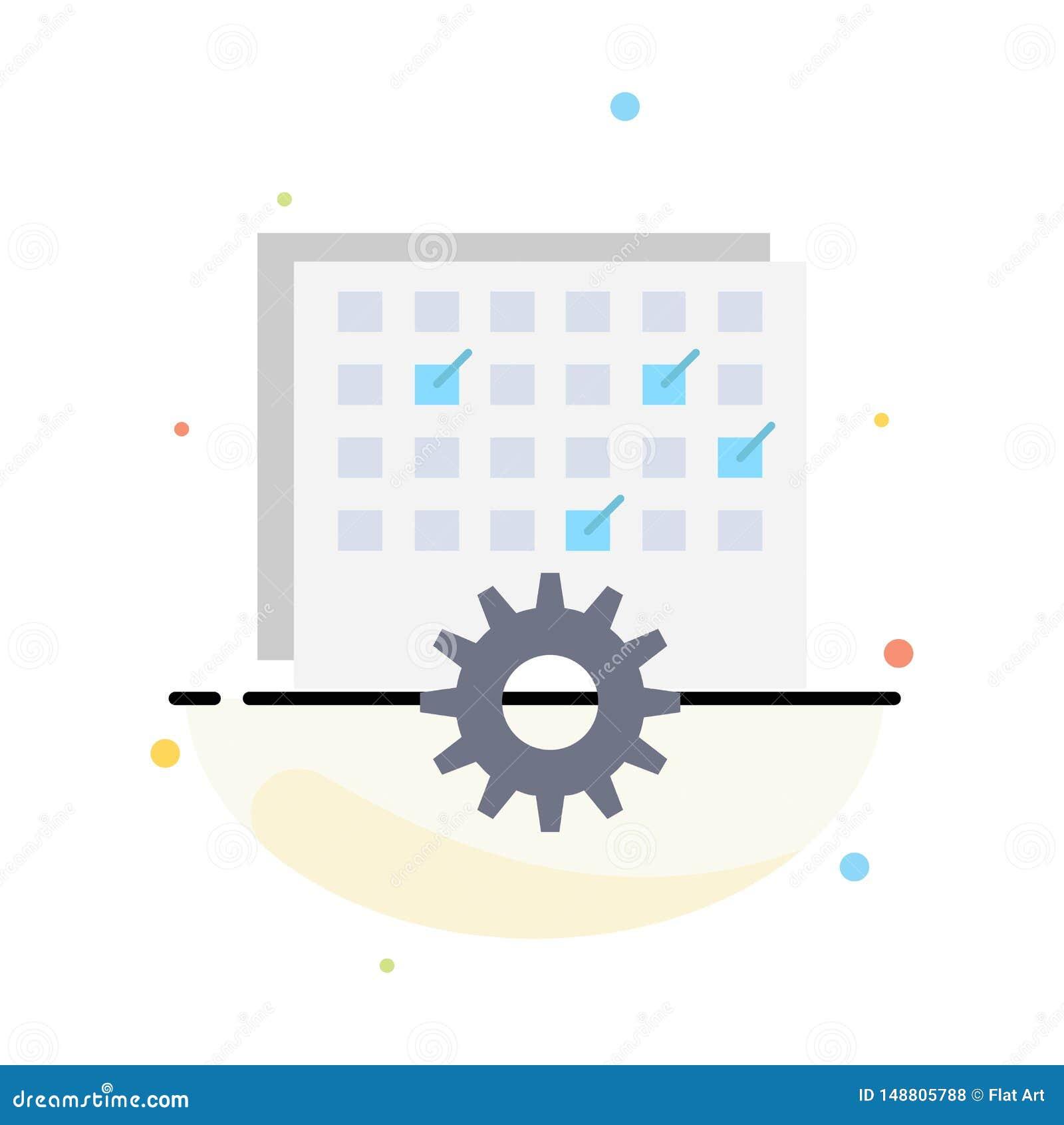 Ereignis, Management, verarbeitend, Zeitplan, TIMING flacher Farbikonen-Vektor