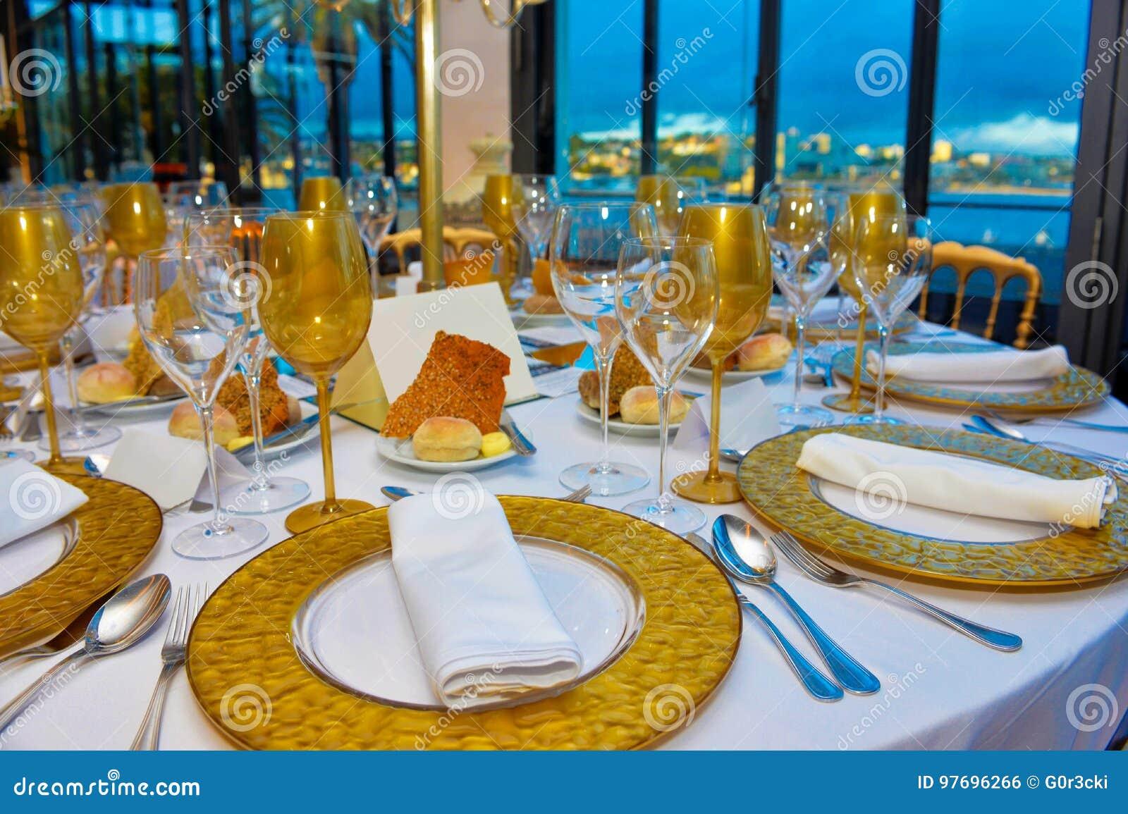 Ereignis Tabellen Eingestellt Abendessen Mit Meerblick