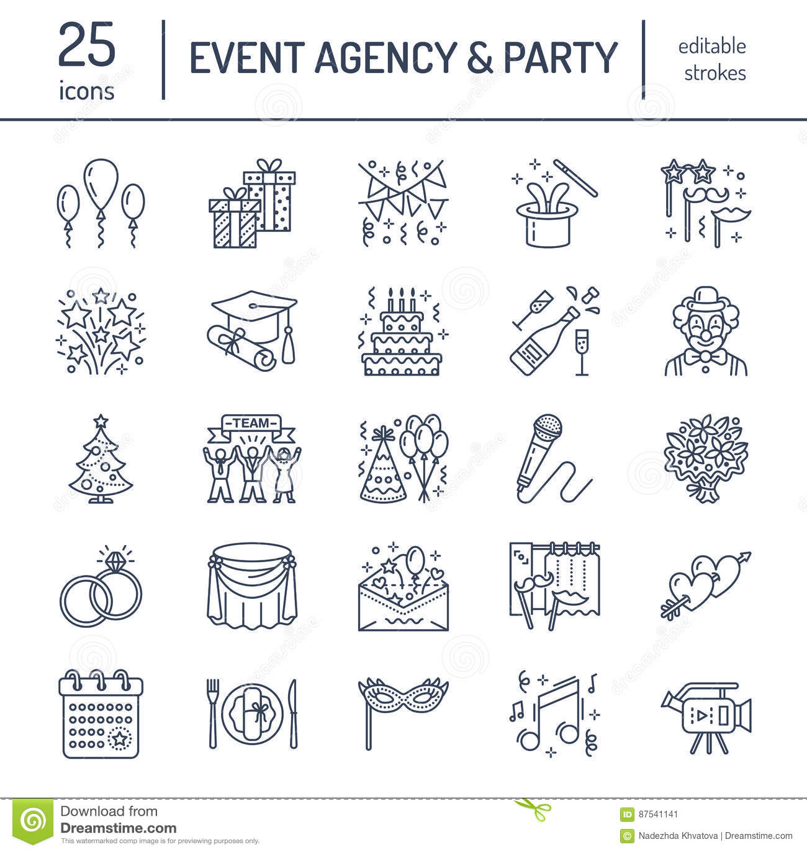 Ereignisagentur, Heiratsorganisationsvektorlinie Ikone Parteiservice-Verpflegung, Geburtstagskuchen, Ballondekoration, Blume
