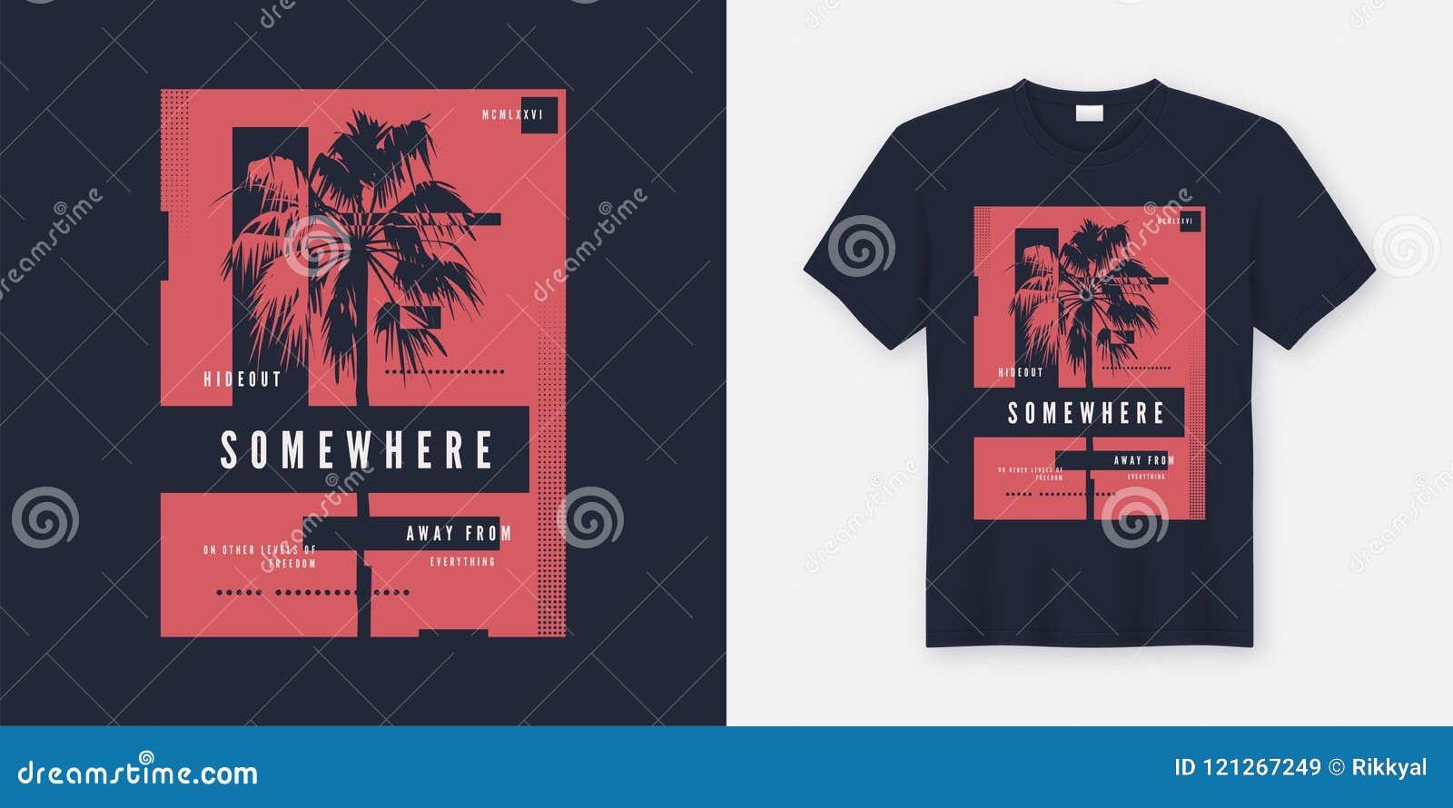 Ergens t-shirt en kledings in ontwerp met palmsilho