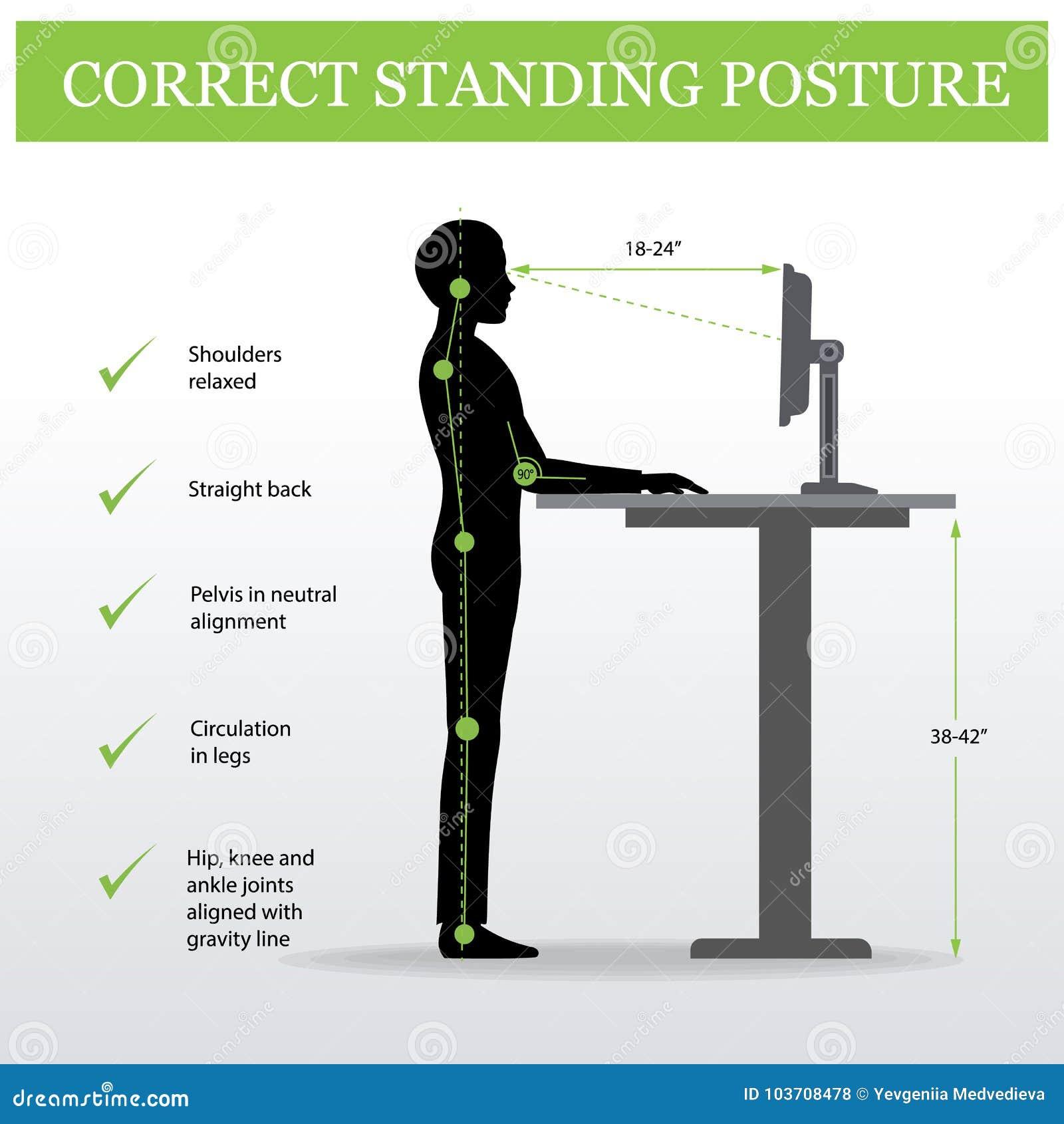 Ergonómico Postura derecha correcta y tabla ajustable de la altura