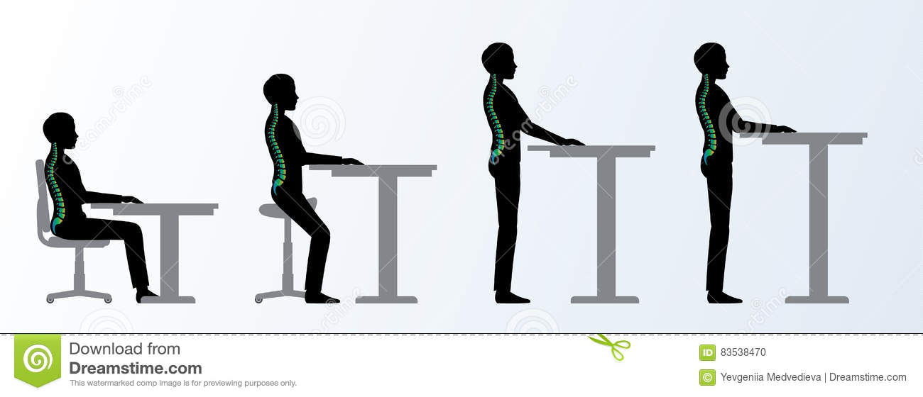 Ergonomic Height Adjustable Desk Or Table Poses Stock Vector