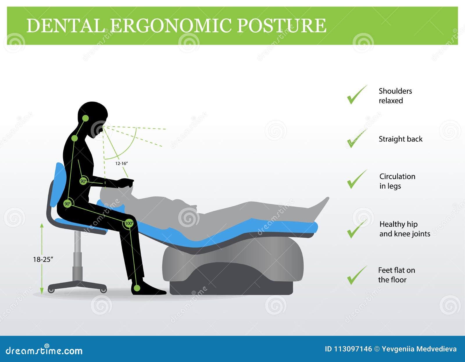 Ergonomie In Der Zahnheilkunde Korrekte Lage Vektor Abbildung