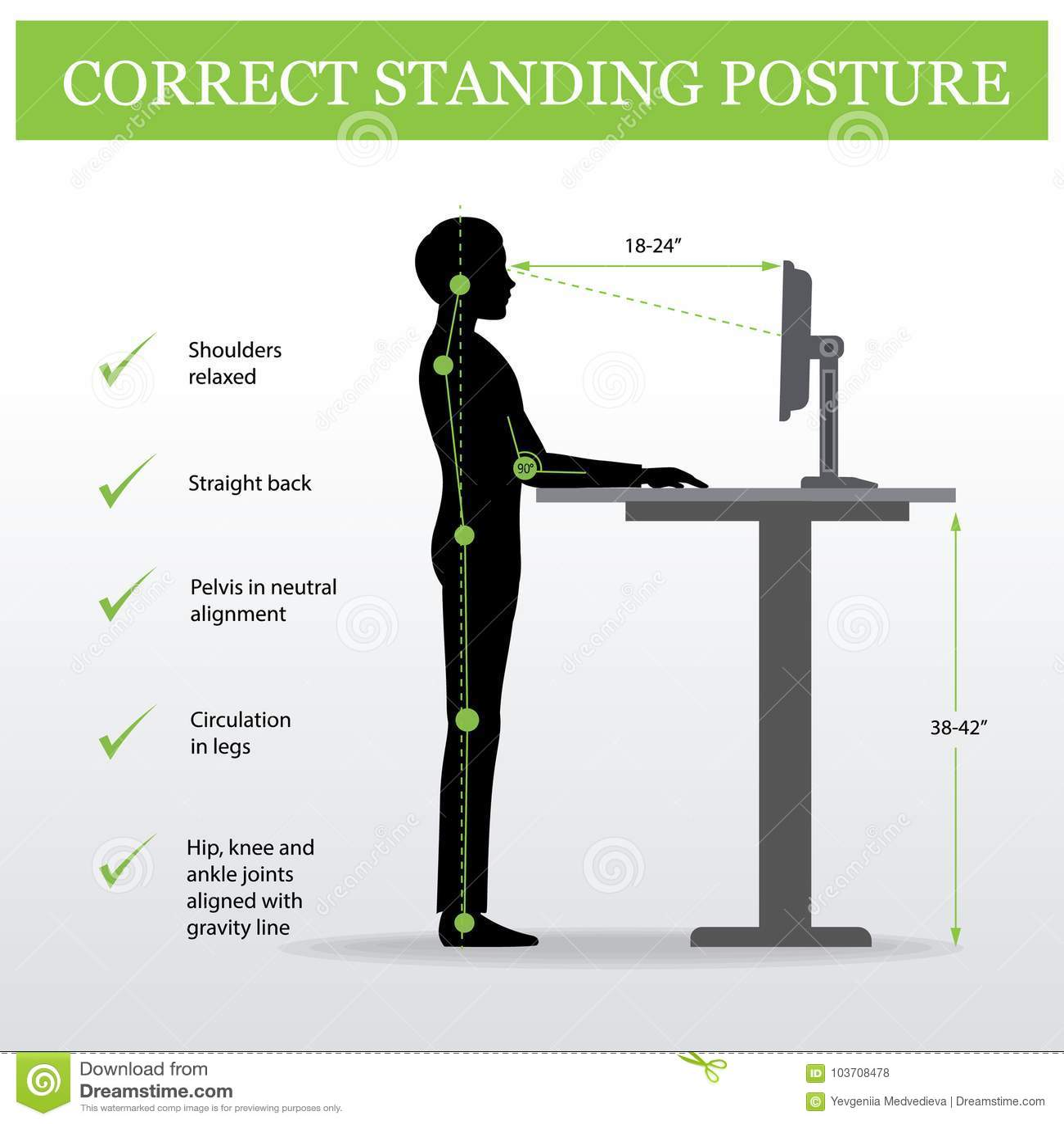 ergonomique posture debout correcte et table r glable de taille illustration de vecteur. Black Bedroom Furniture Sets. Home Design Ideas